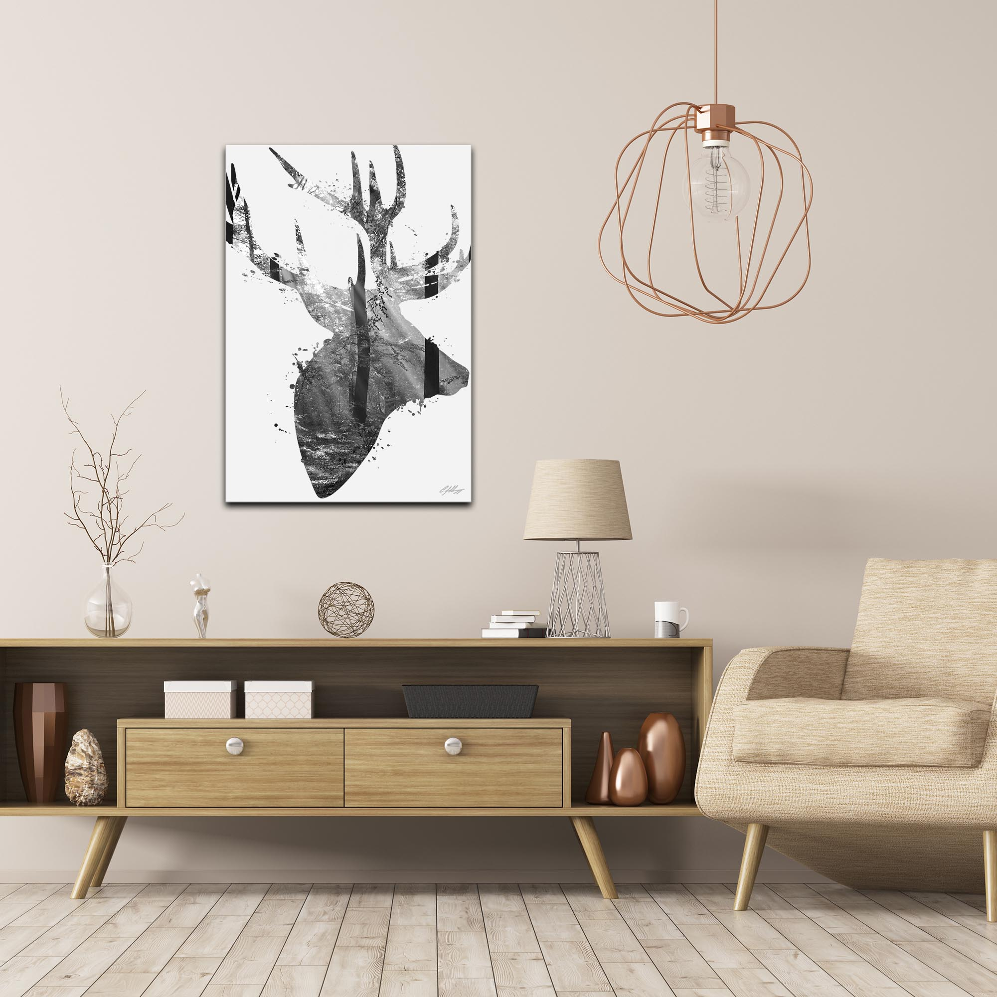 Forest Deer Gray by Adam Schwoeppe Animal Silhouette on White Metal - Lifestyle View