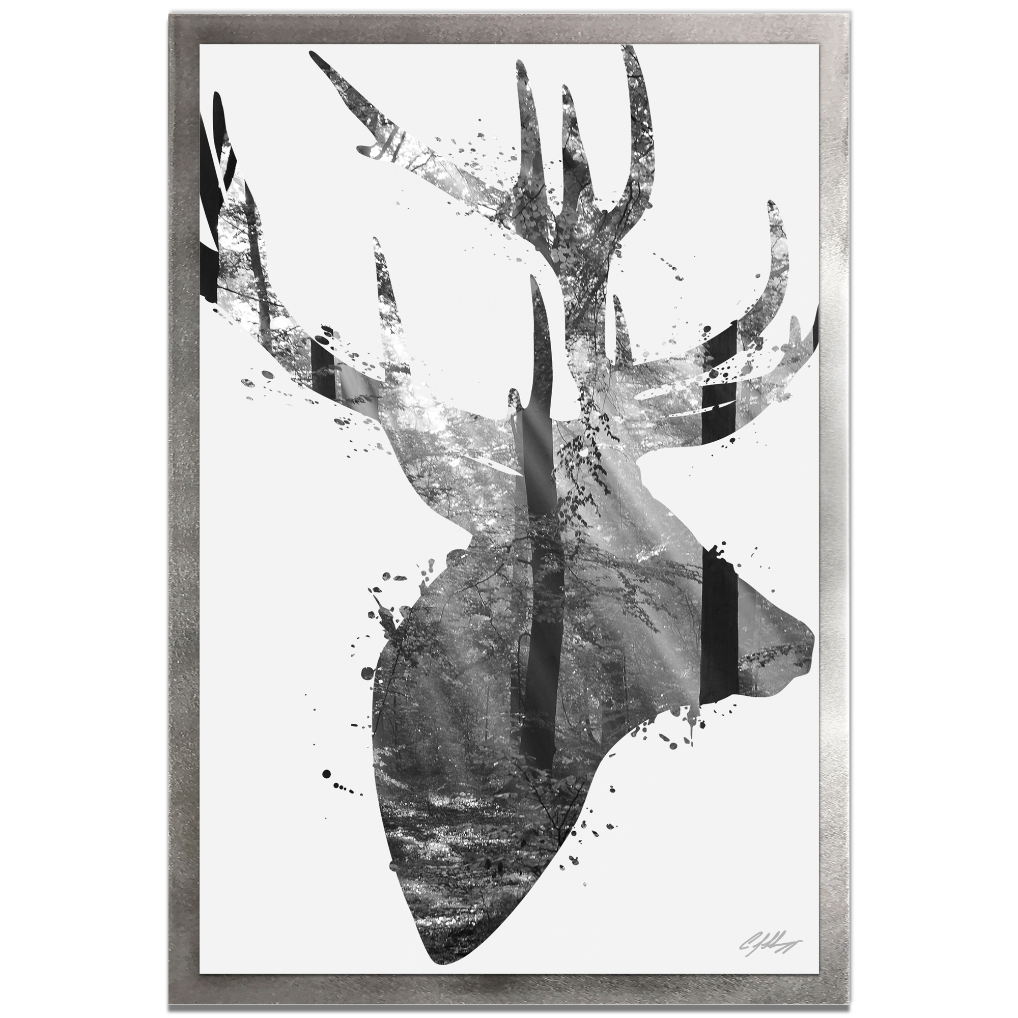 Adam Schwoeppe 'Forest Deer Gray Framed' 22in x 32in Contemporary Animal Silhouette Art on Colored Metal