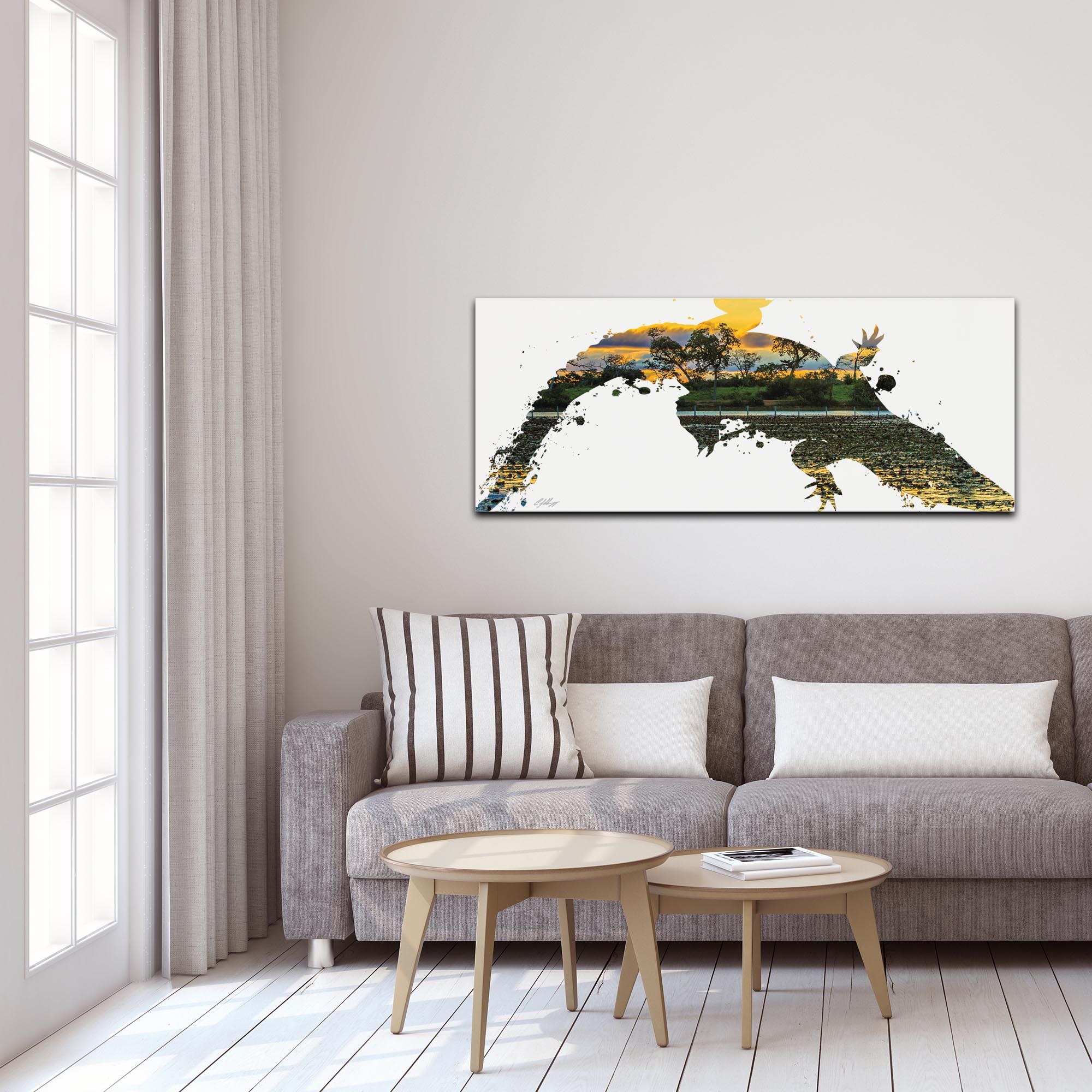 Alligator Swamp by Adam Schwoeppe Animal Silhouette on White Metal - Lifestyle View