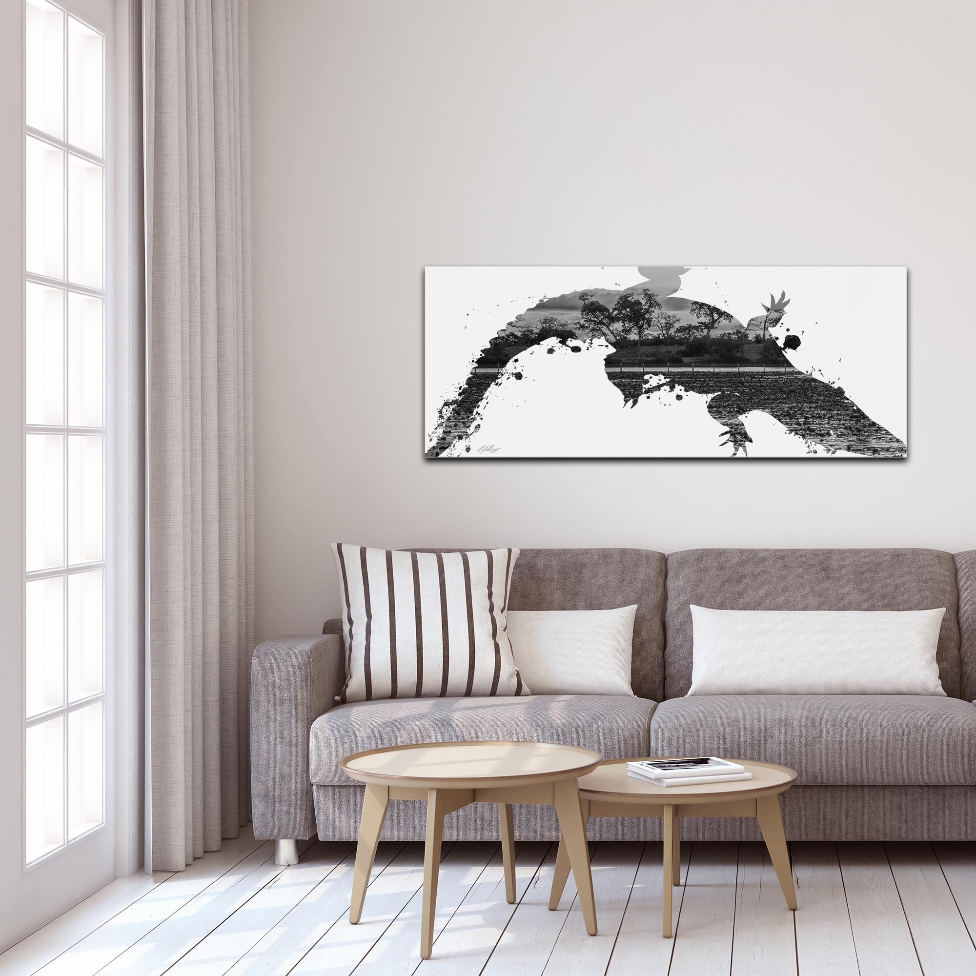 Alligator Swamp Gray by Adam Schwoeppe Animal Silhouette on White Metal - Lifestyle View