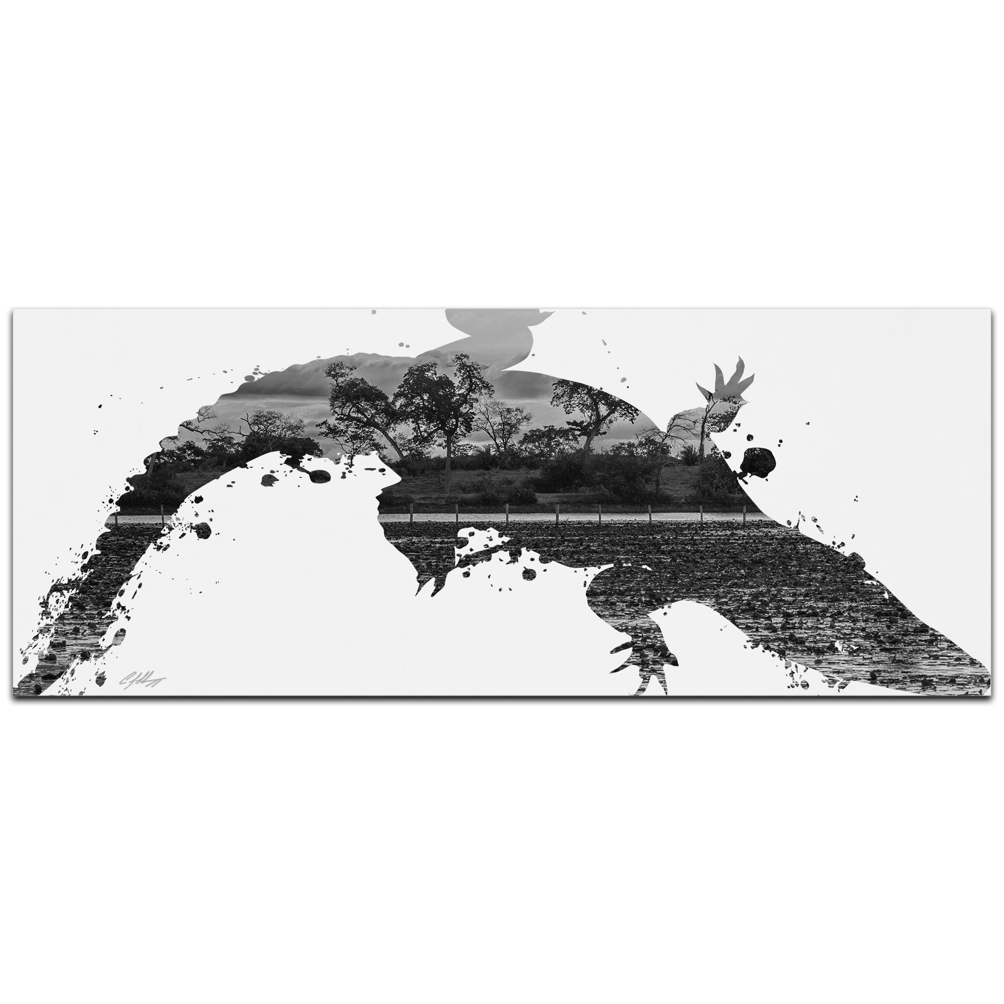 Alligator Swamp Gray by Adam Schwoeppe Animal Silhouette on White Metal
