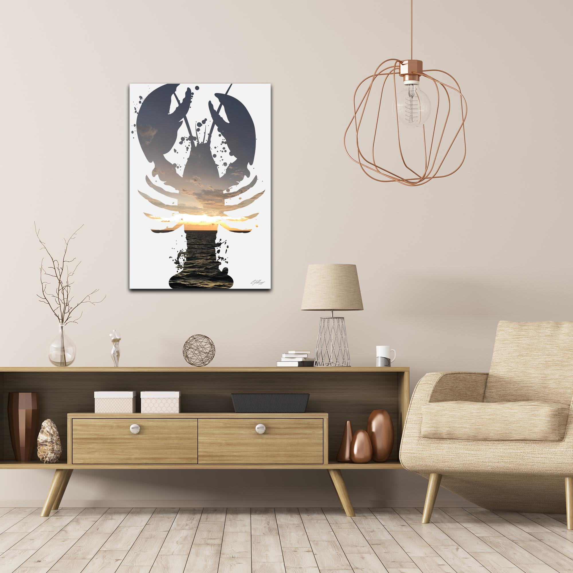 Lobster Sunrise by Adam Schwoeppe Animal Silhouette on White Metal - Lifestyle View