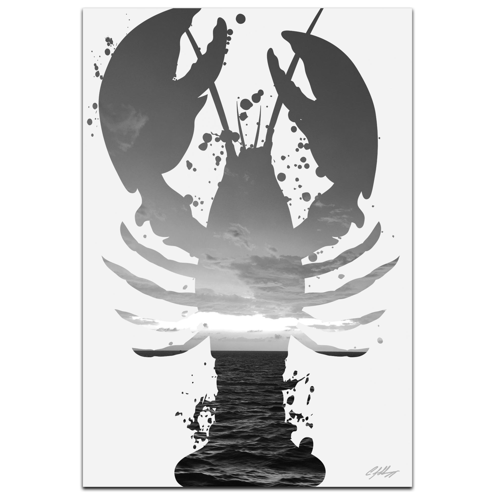 Lobster Sunrise Gray by Adam Schwoeppe Animal Silhouette on White Metal