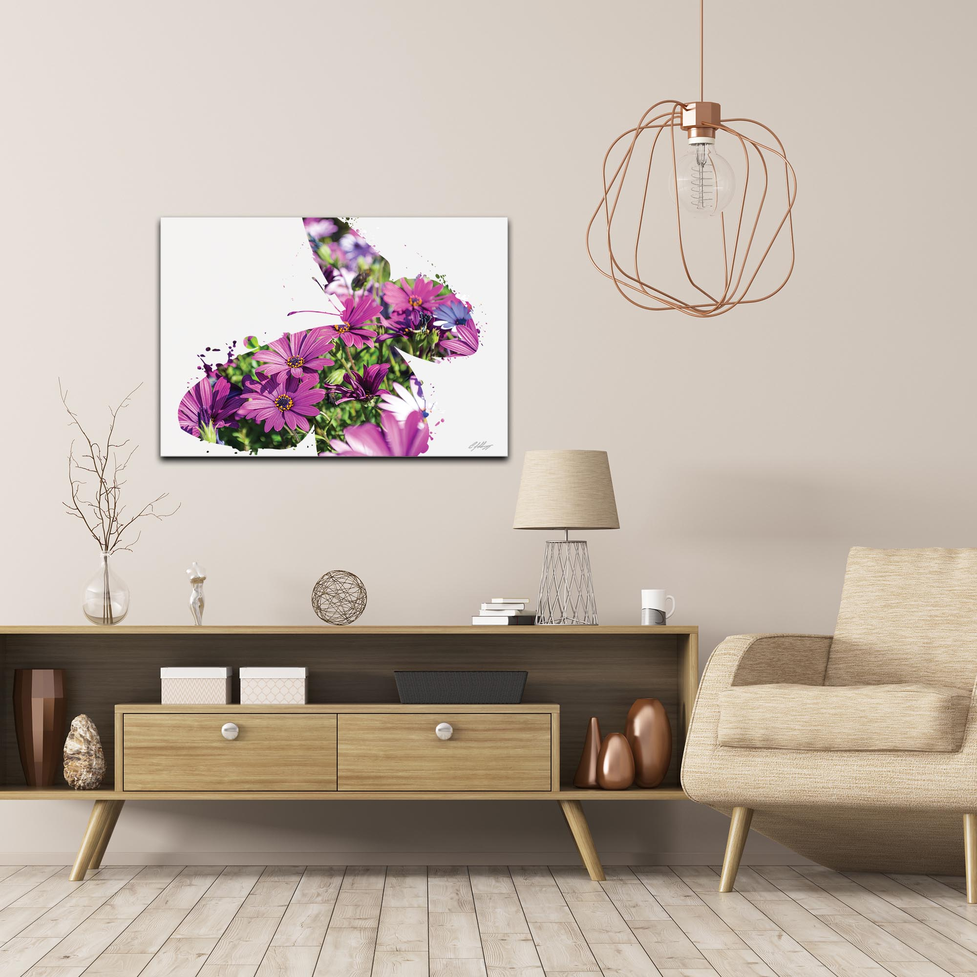 Butterfly Flowers by Adam Schwoeppe Animal Silhouette on White Metal - Lifestyle View