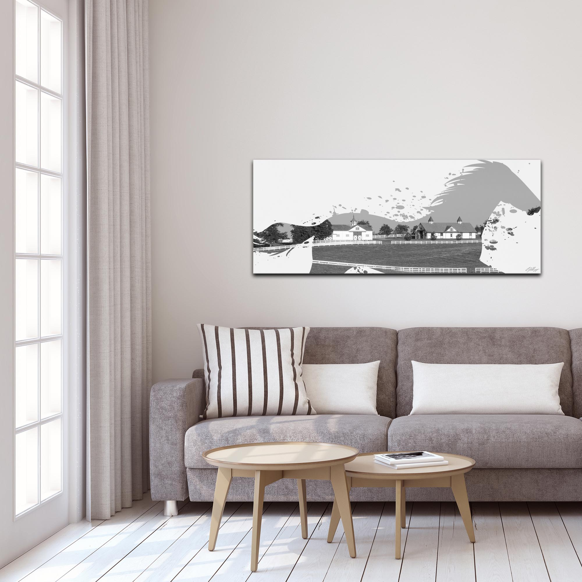 Horse Ranch Gray by Adam Schwoeppe Animal Silhouette on White Metal - Lifestyle View