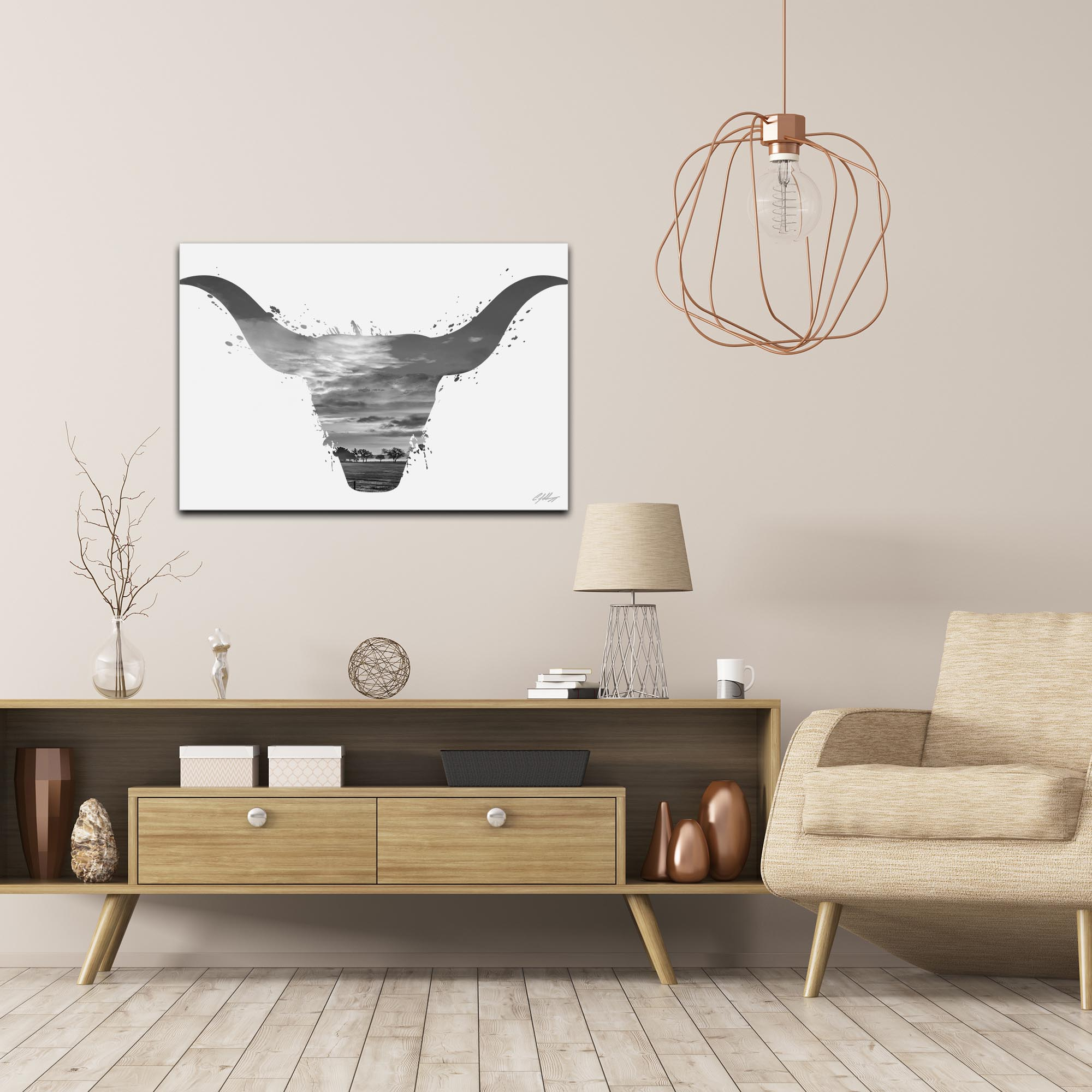 Longhorn Sky Gray by Adam Schwoeppe Animal Silhouette on White Metal - Lifestyle View