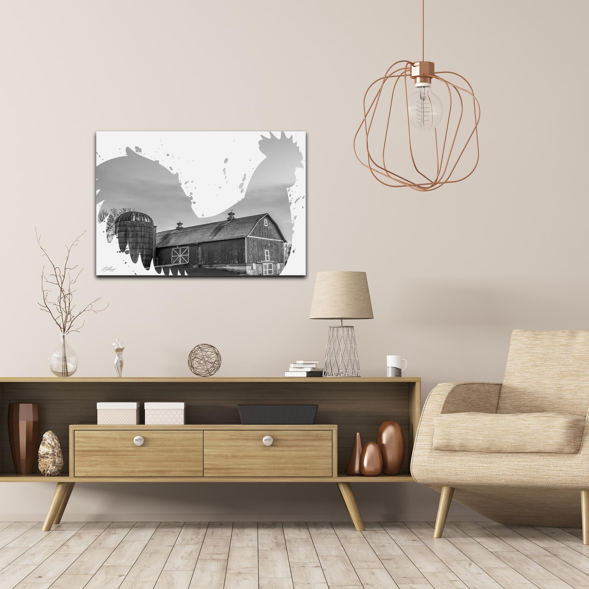 Rooster Farm Gray by Adam Schwoeppe Animal Silhouette on White Metal - Lifestyle View