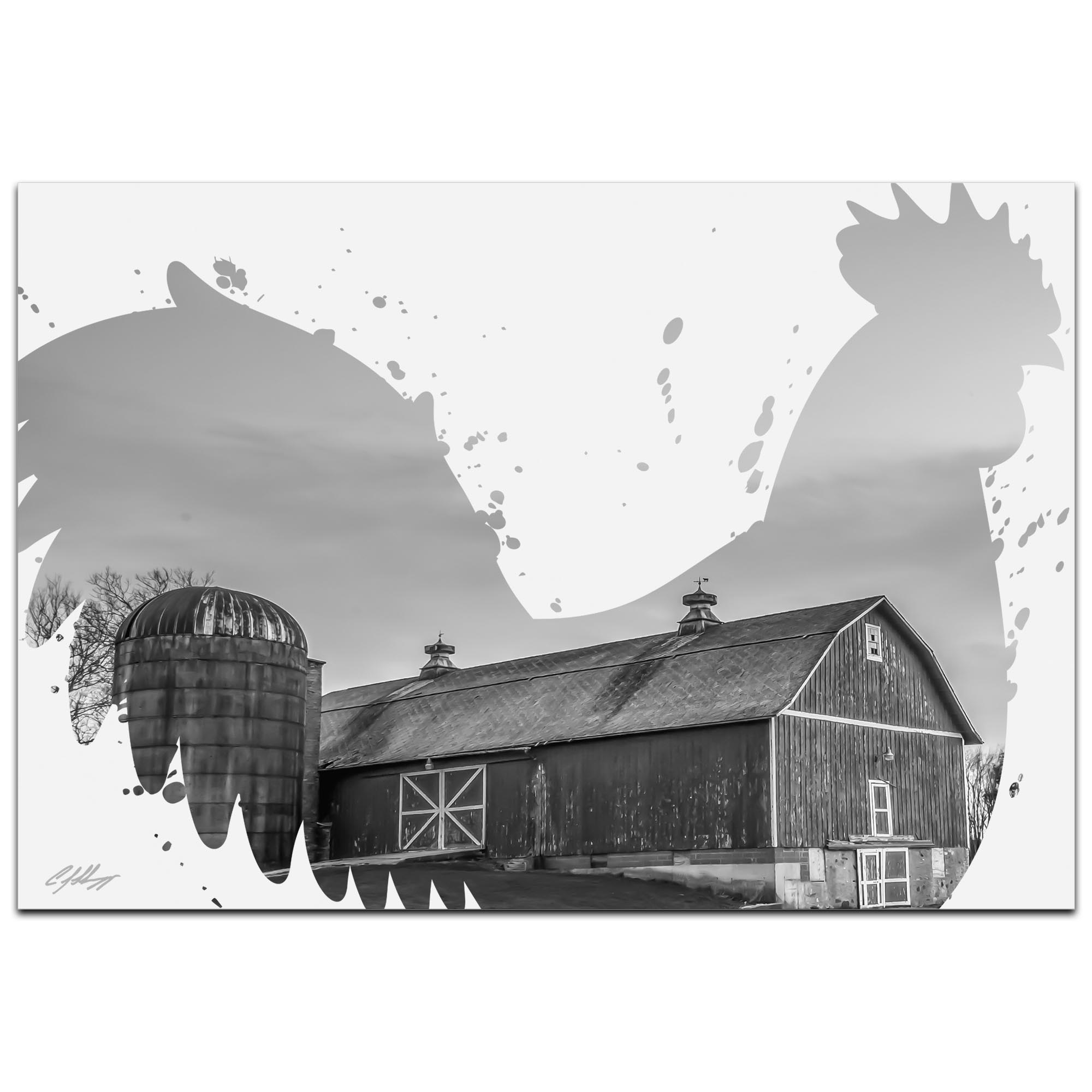 Rooster Farm Gray by Adam Schwoeppe Animal Silhouette on White Metal