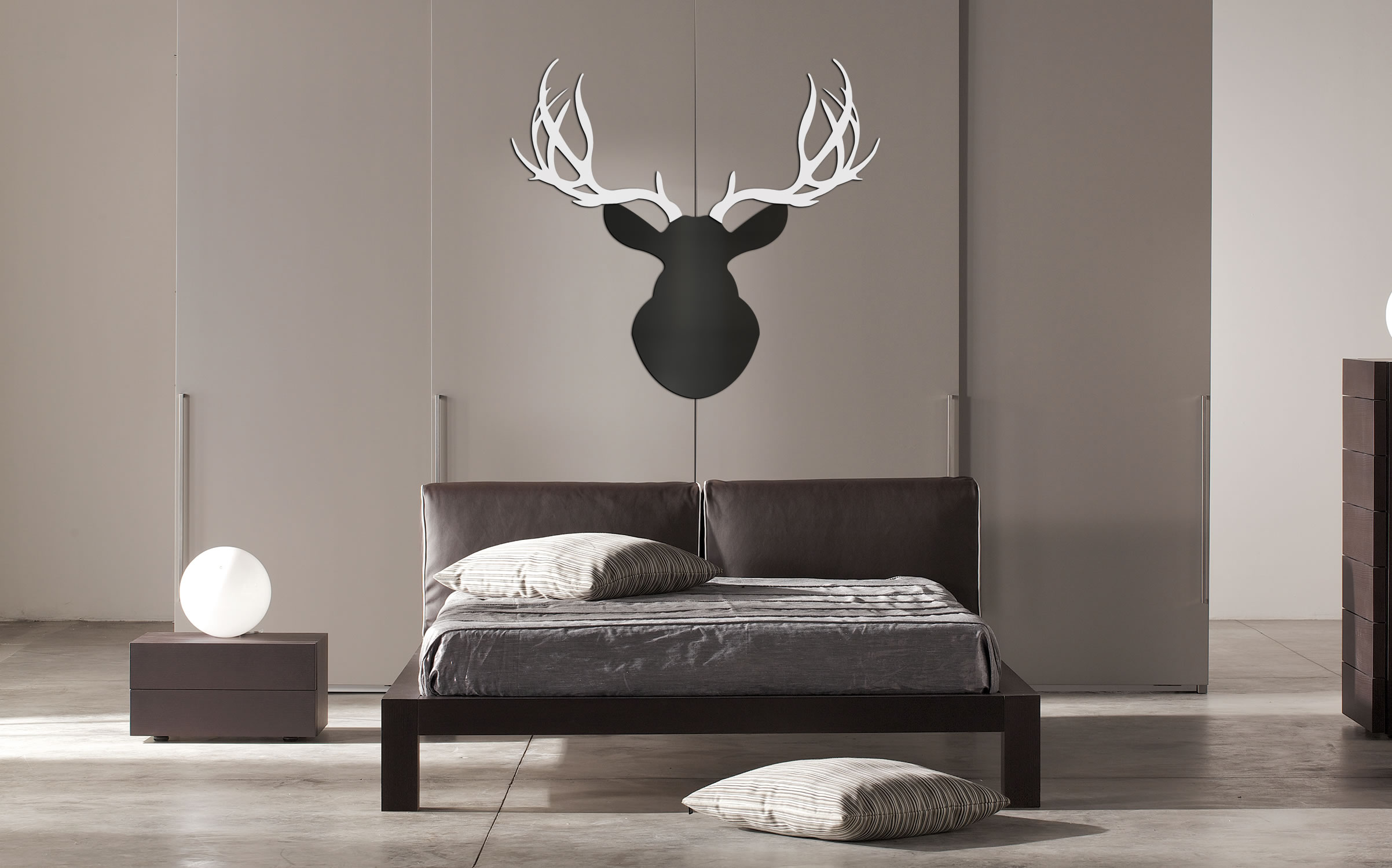 MODERN BUCK - 36x36 in. Black & White Deer Cut-Out - Lifestyle Image