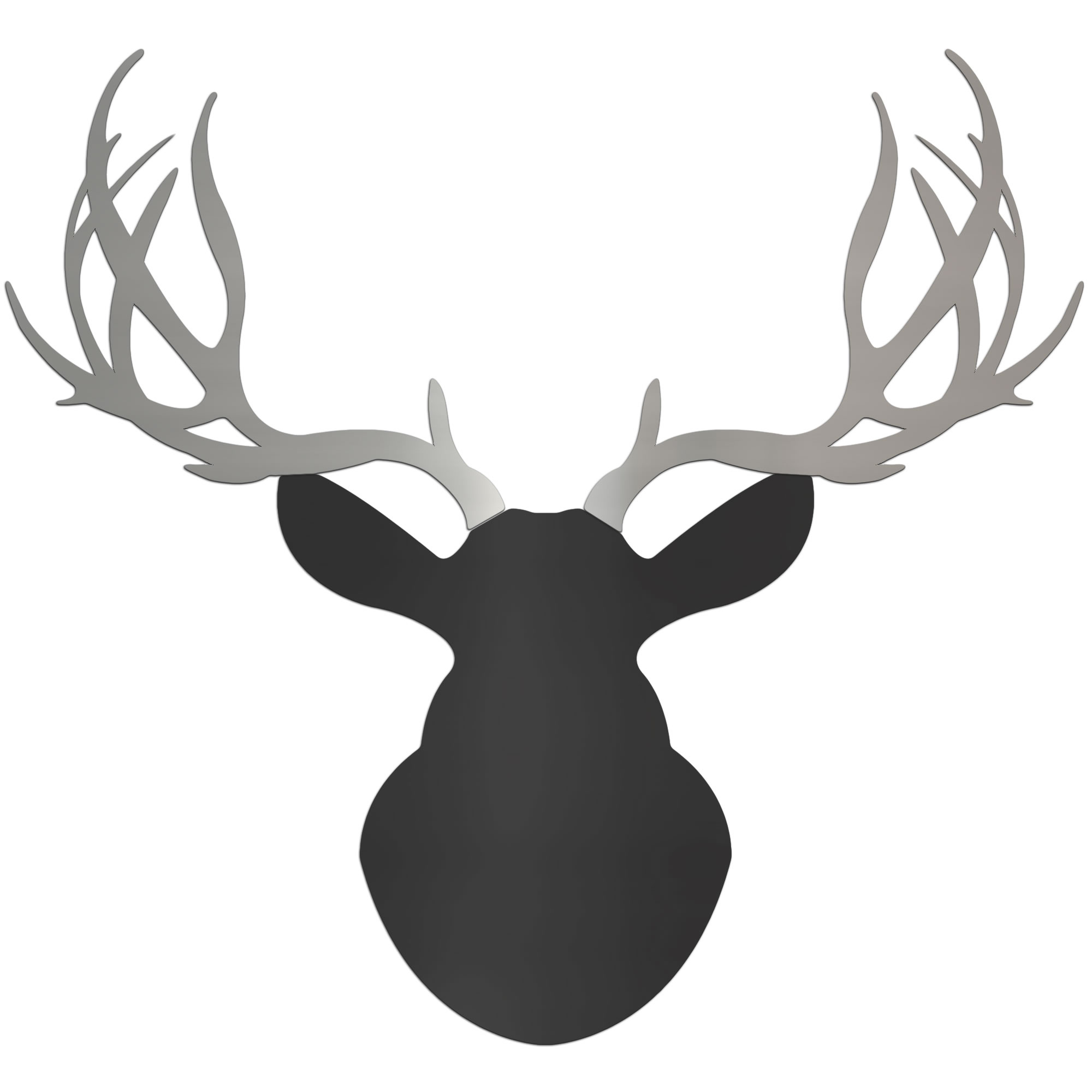 URBAN BUCK - 36x36 in. Black & Silver Deer Cut-Out