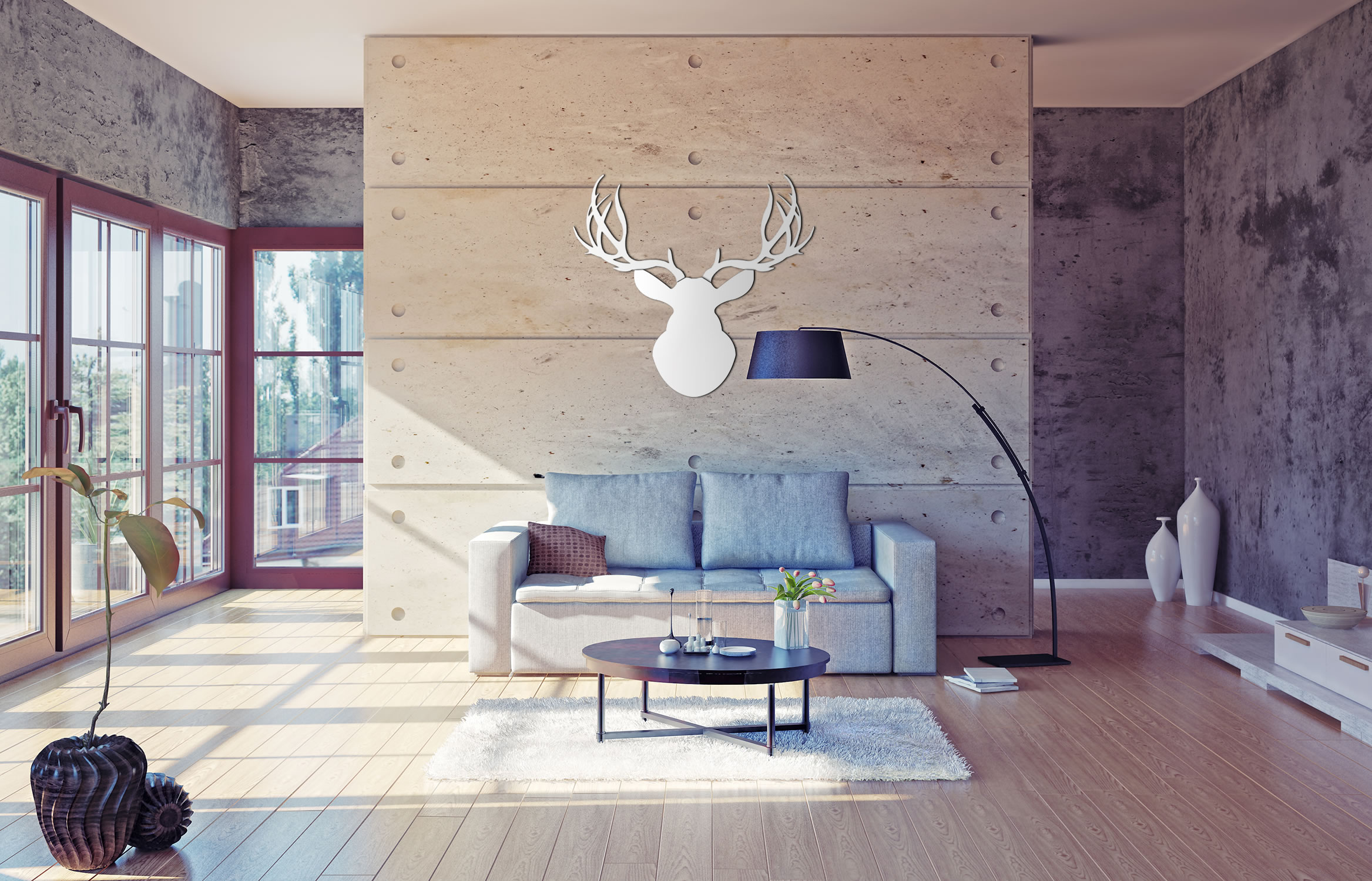 SNOW BUCK - 36x36 in. Pure White Deer Cut-Out - Lifestyle Image