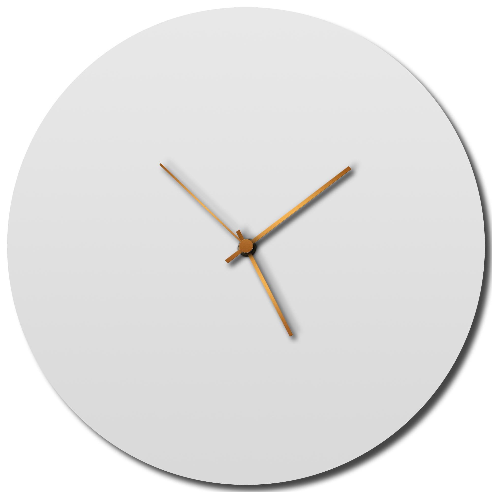 Adam Schwoeppe 'Whiteout Bronze Circle Clock Large' Midcentury Modern Style Wall Clock