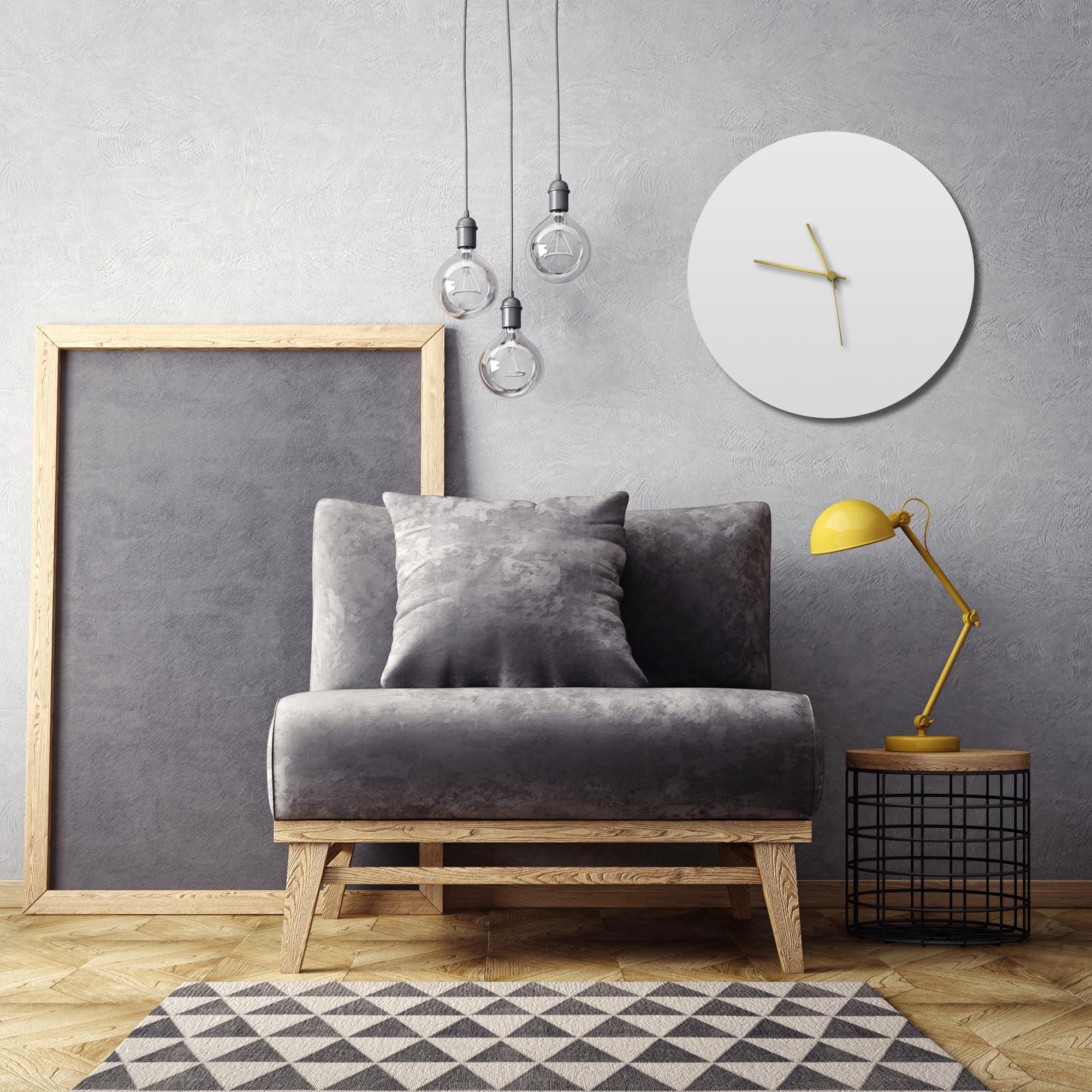 Whiteout Gold Circle Clock Large - Lifestyle View