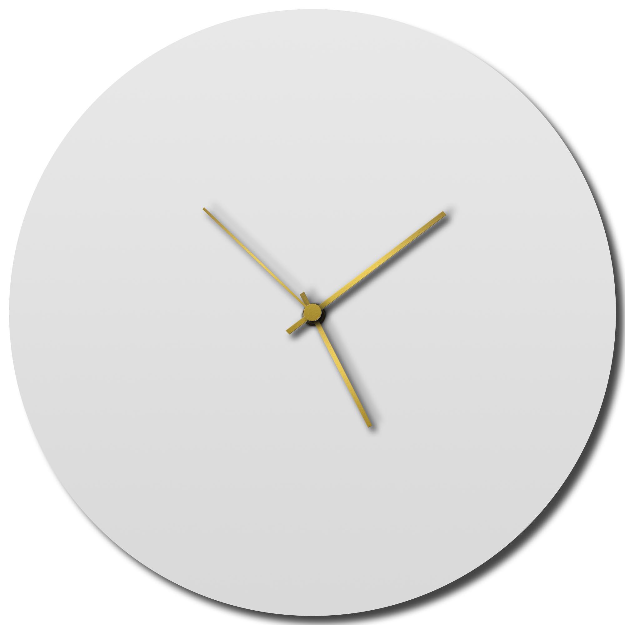 Adam Schwoeppe 'Whiteout Gold Circle Clock Large' Midcentury Modern Style Wall Clock
