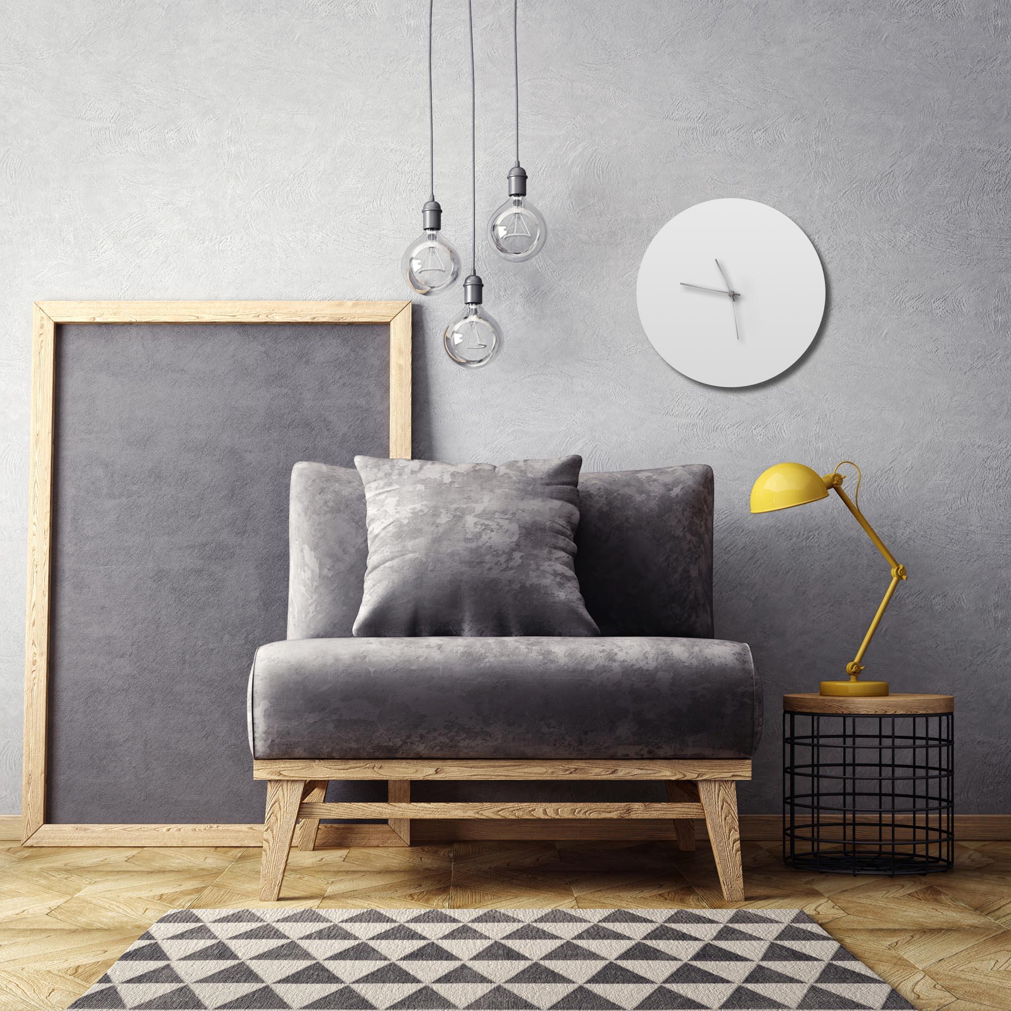 Whiteout Silver Circle Clock - Lifestyle View