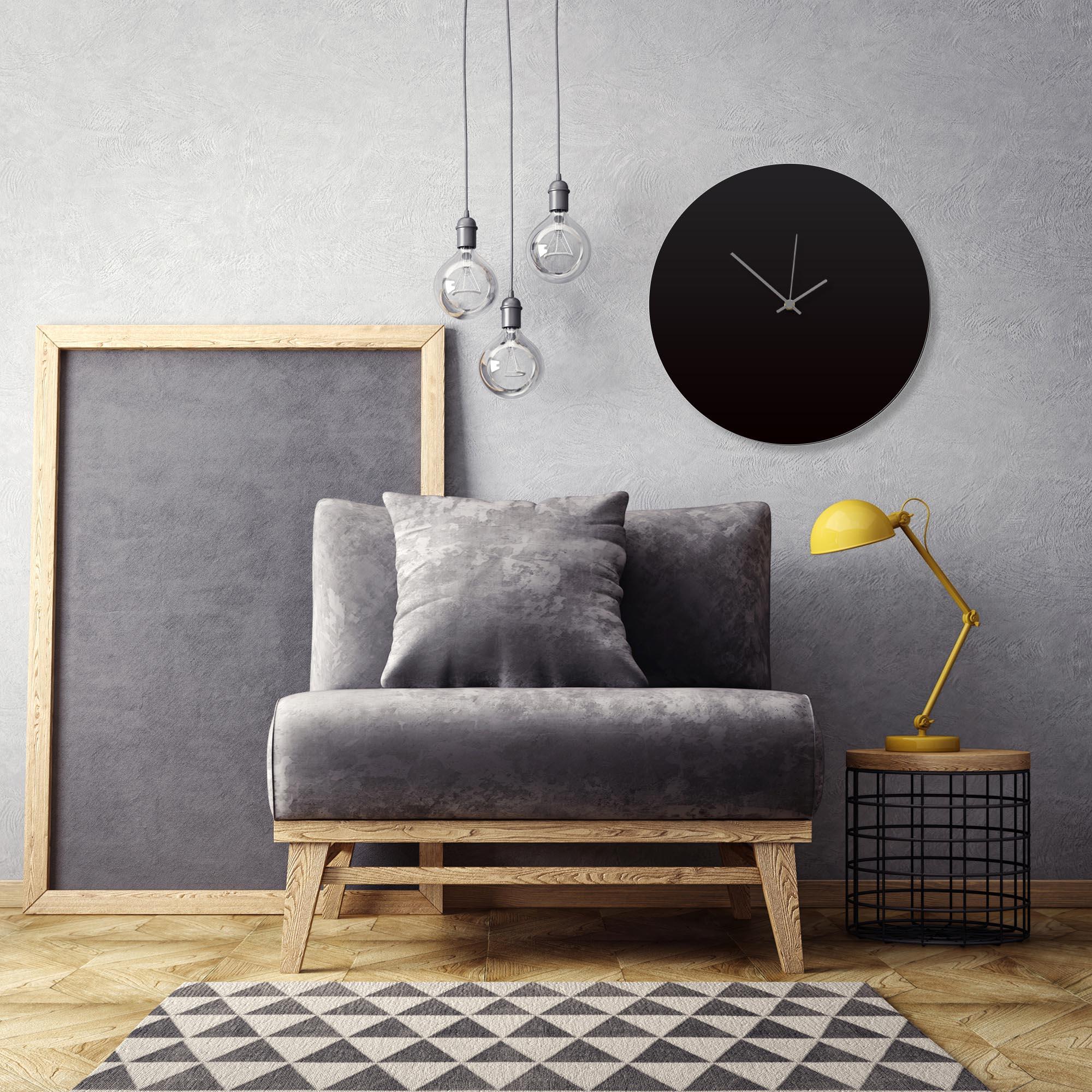 Blackout Grey Circle Clock Large by Adam Schwoeppe Contemporary Clock on Aluminum Polymetal - Alternate View 1