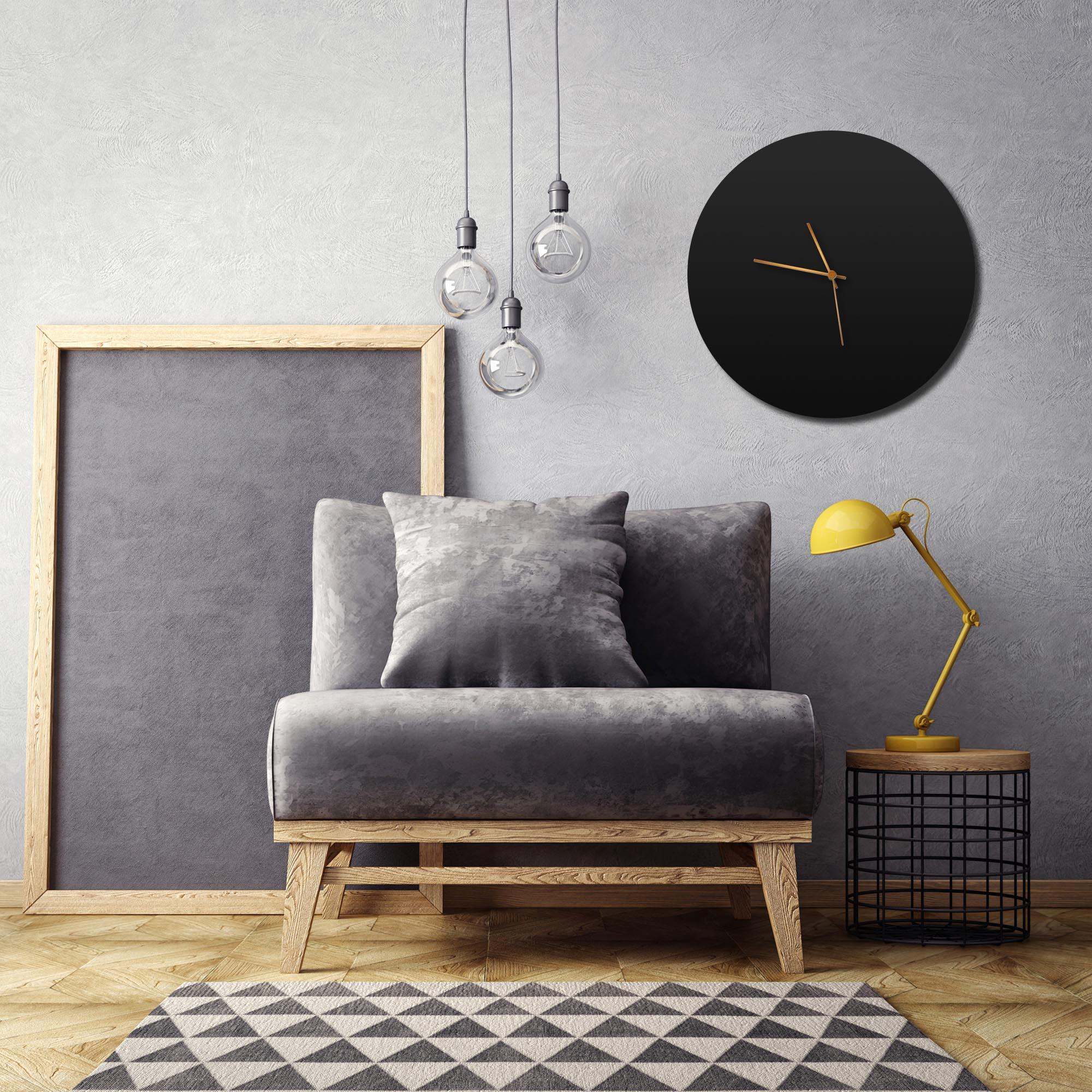 Blackout Bronze Circle Clock Large - Lifestyle View