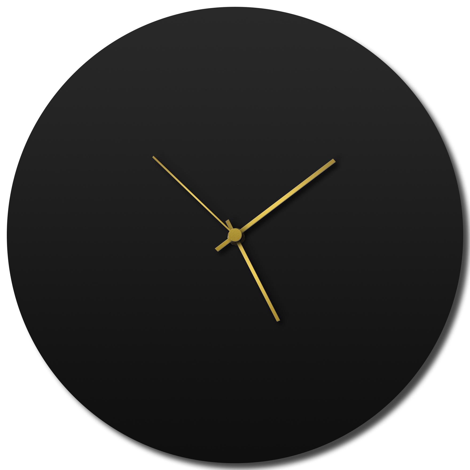 Adam Schwoeppe 'Blackout Gold Circle Clock Large' Midcentury Modern Style Wall Clock