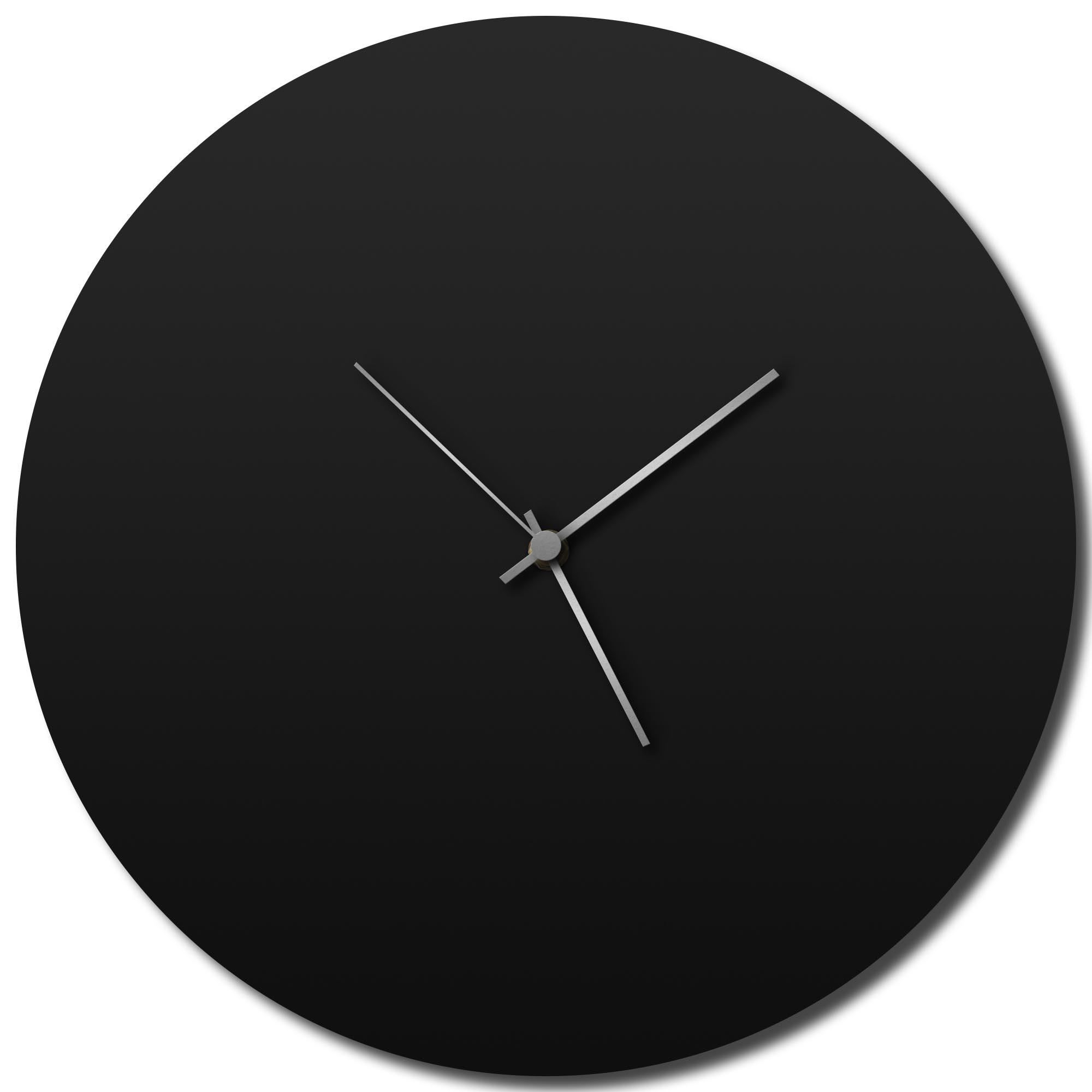 Adam Schwoeppe 'Blackout Silver Circle Clock' Midcentury Modern Style Wall Clock