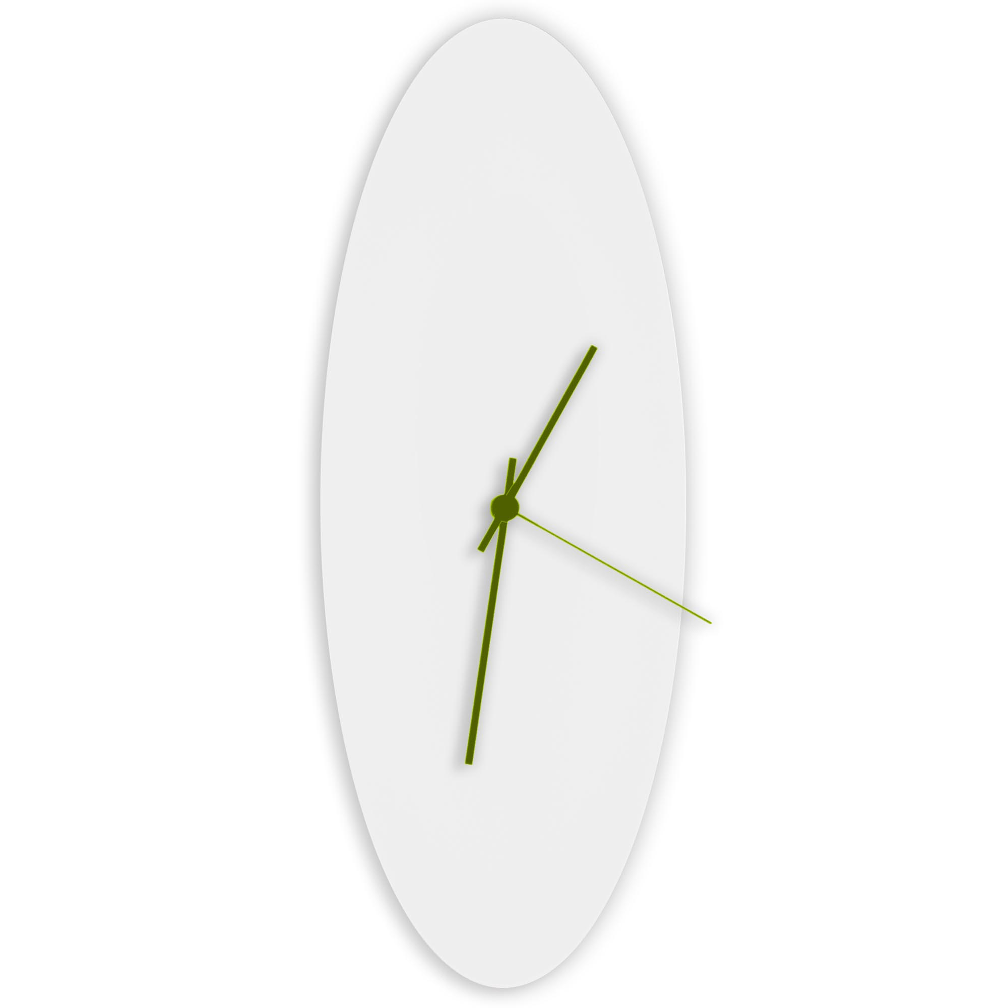 Whiteout Ellipse Clock Large by Adam Schwoeppe - Minimalist Modern White Metal Clock