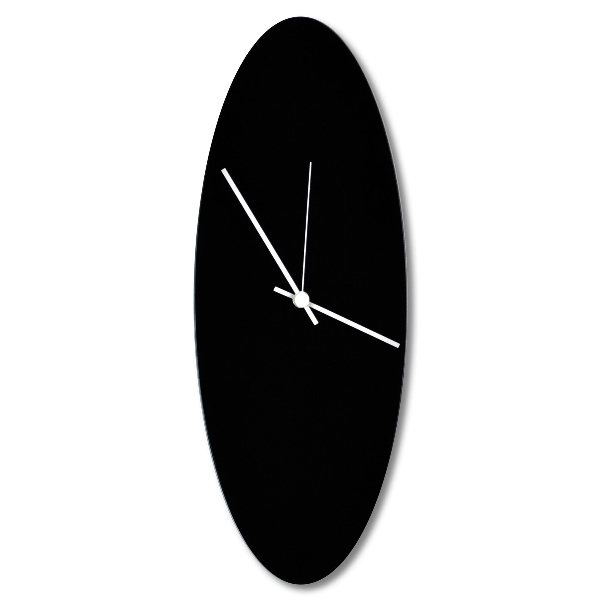 Blackout Ellipse Clock by Adam Schwoeppe - Minimalist Modern Black Metal Clock