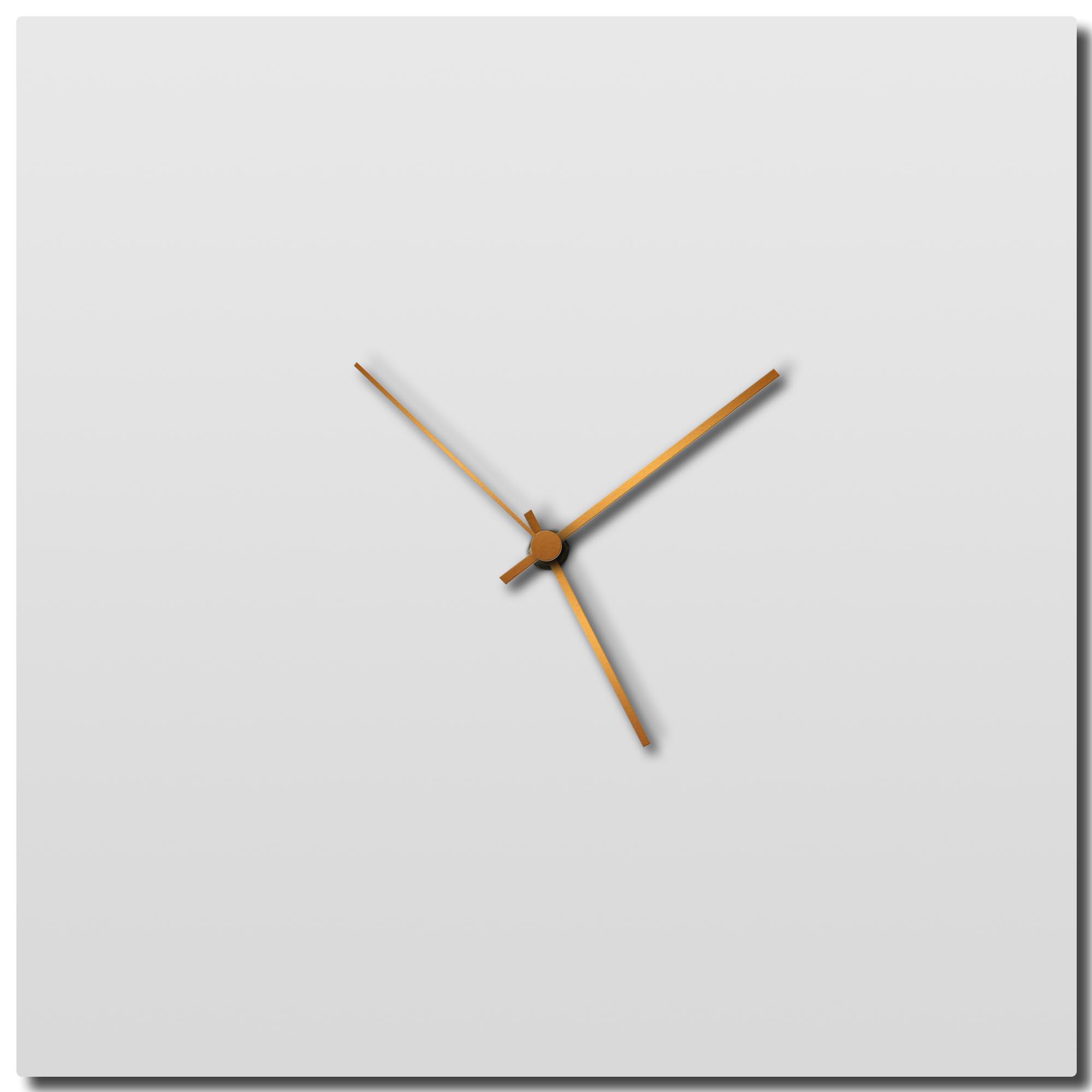 Adam Schwoeppe 'Whiteout Bronze Square Clock' Midcentury Modern Style Wall Clock