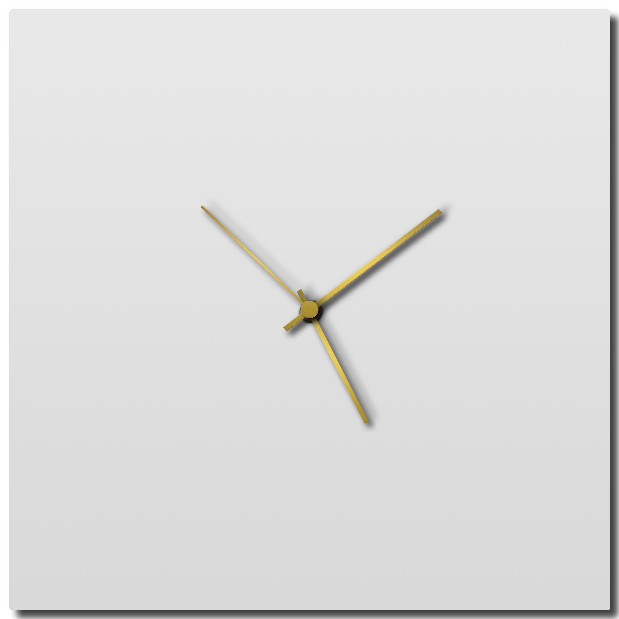 Adam Schwoeppe 'Whiteout Gold Square Clock Large' Midcentury Modern Style Wall Clock