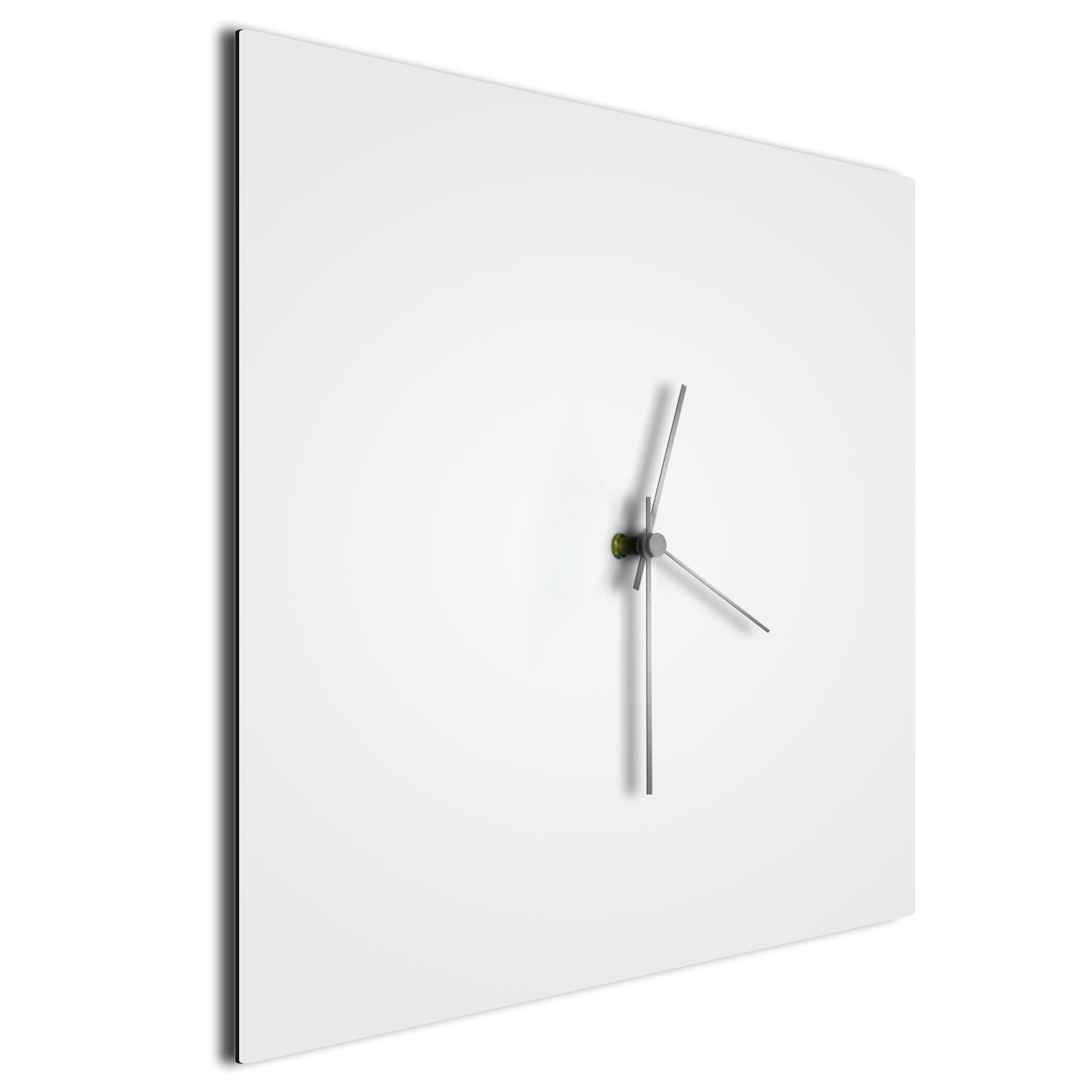 Whiteout Silver Square Clock Large - Image 2