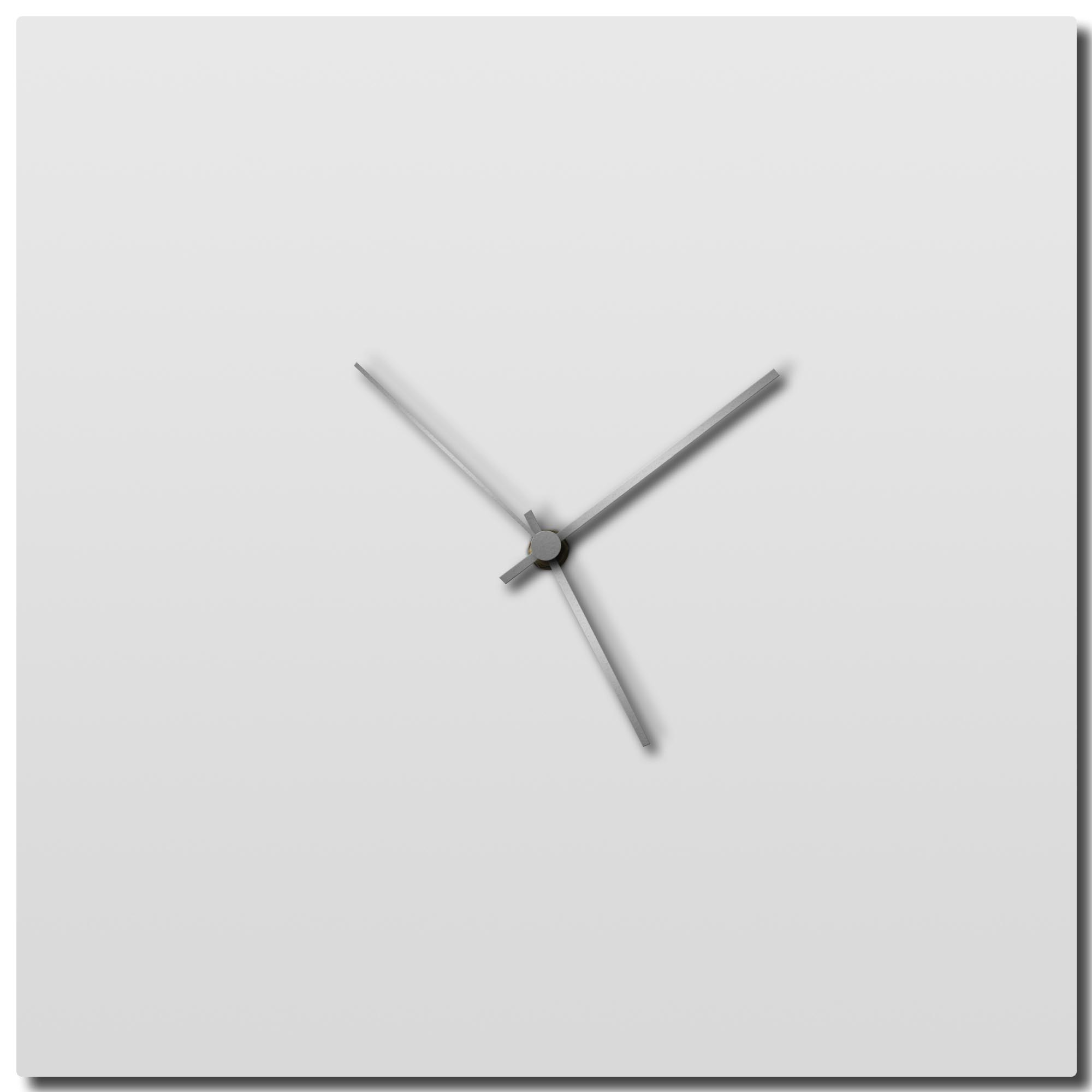 Adam Schwoeppe 'Whiteout Silver Square Clock Large' Midcentury Modern Style Wall Clock