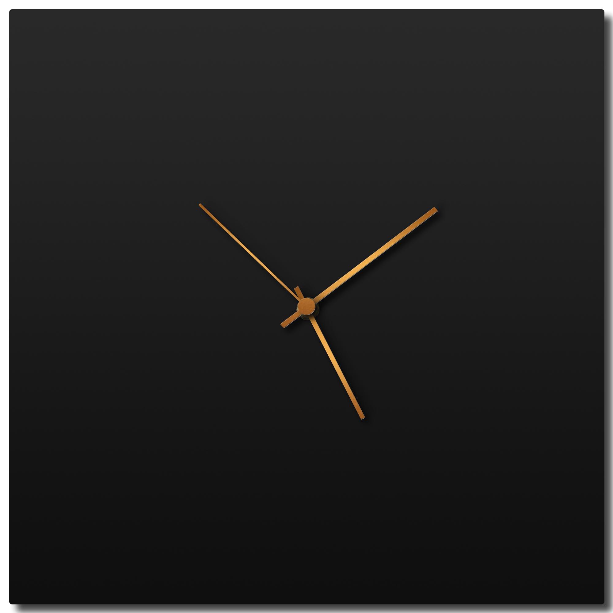 Adam Schwoeppe 'Blackout Bronze Square Clock' Midcentury Modern Style Wall Clock