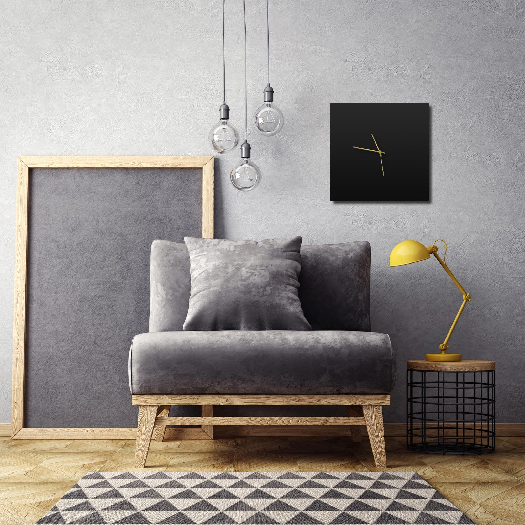 Blackout Gold Square Clock - Lifestyle View