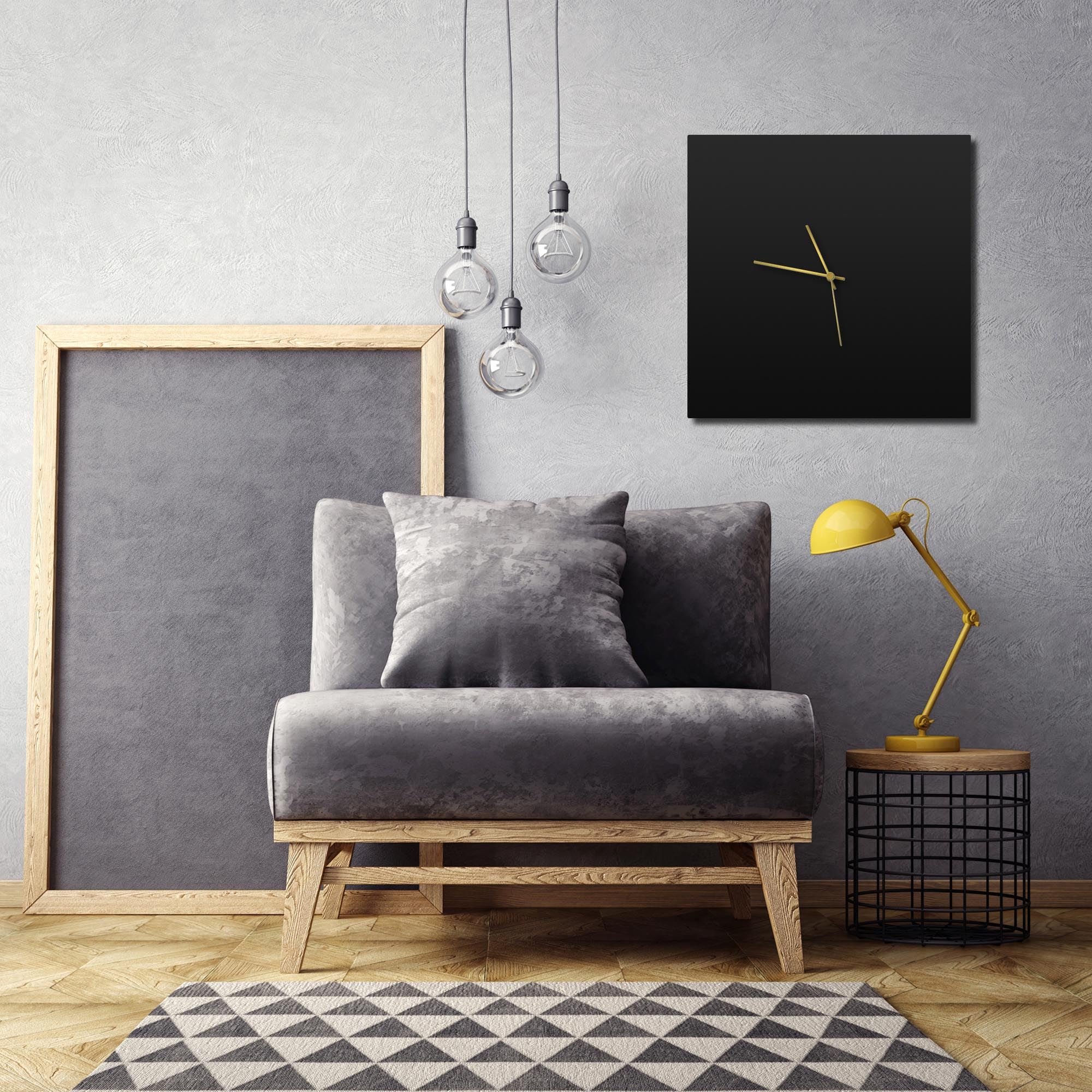 Blackout Gold Square Clock Large - Lifestyle View