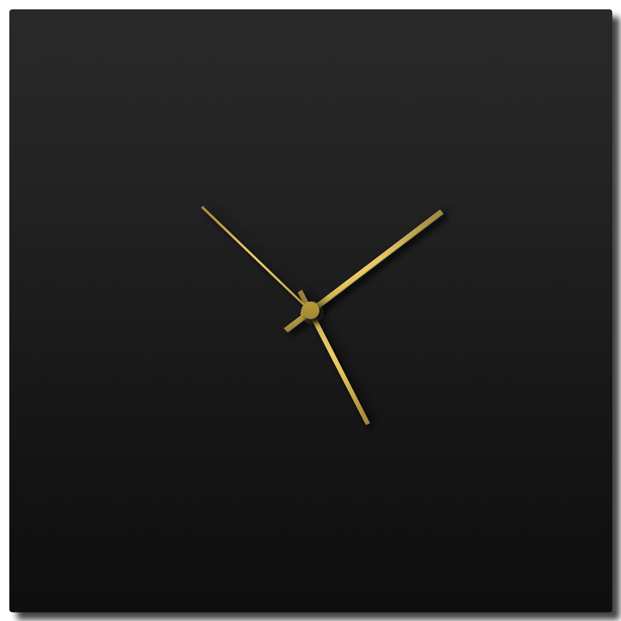 Adam Schwoeppe 'Blackout Gold Square Clock Large' Midcentury Modern Style Wall Clock