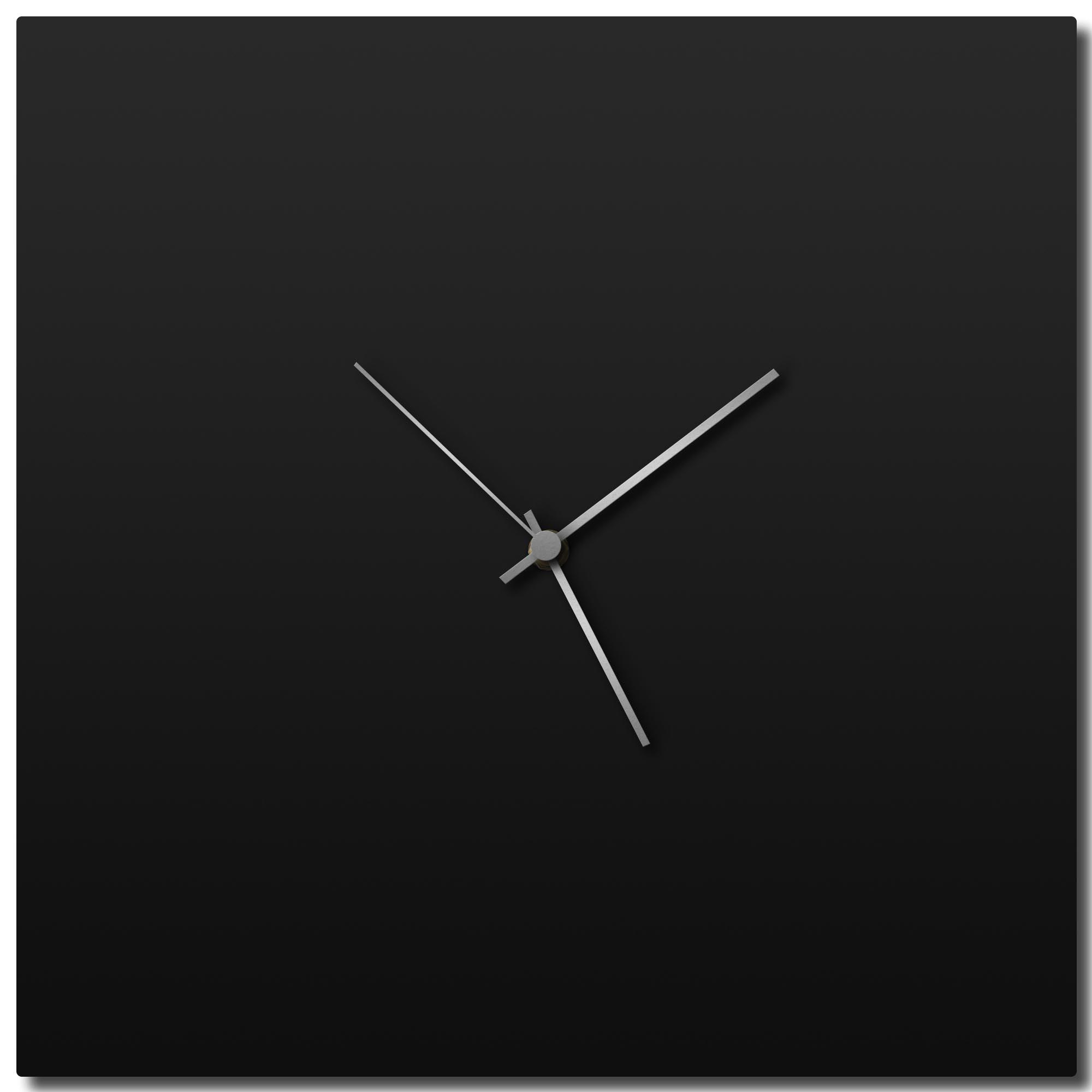 Adam Schwoeppe 'Blackout Silver Square Clock' Midcentury Modern Style Wall Clock