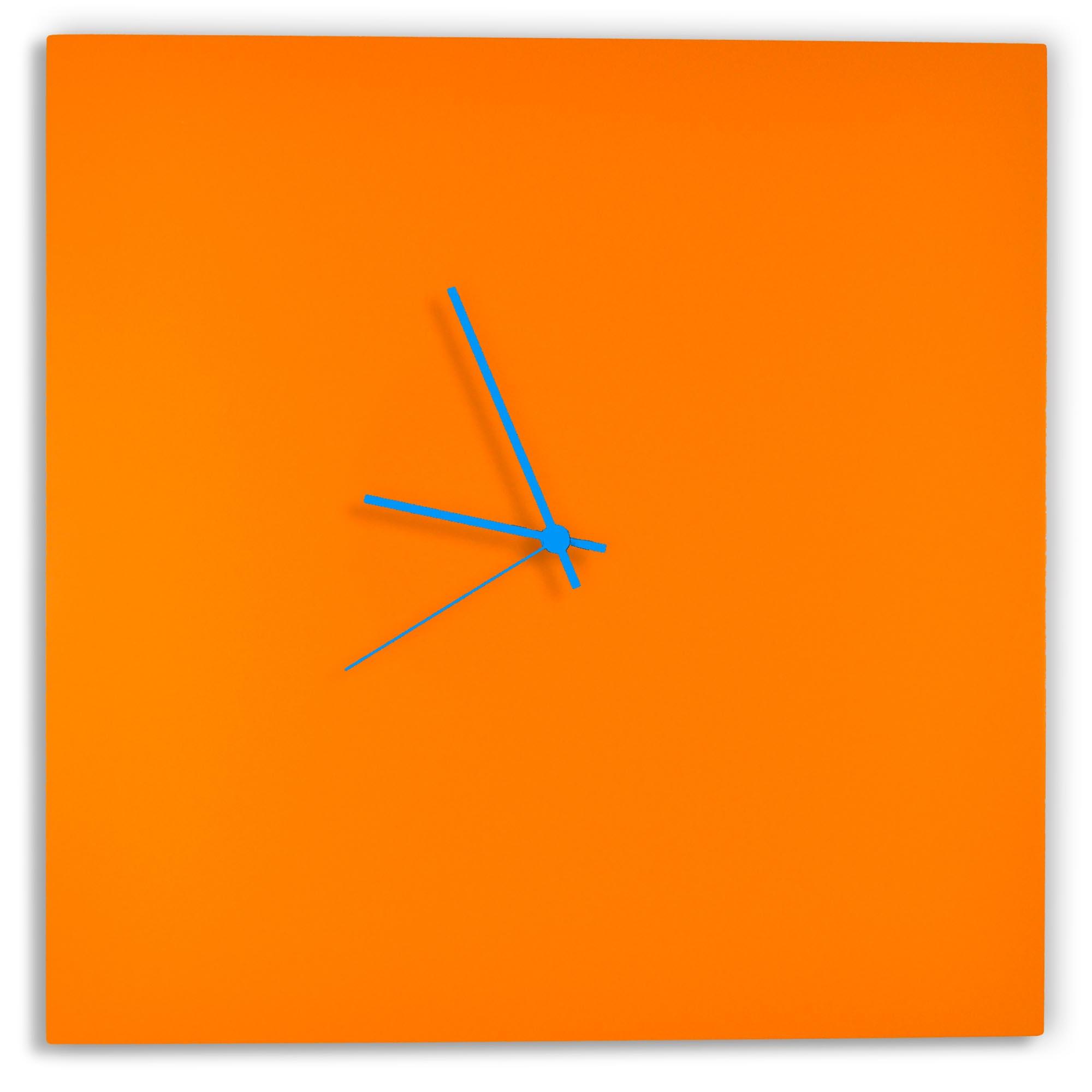 Orangeout Square Clock Large by Adam Schwoeppe - Minimalist Orange Metal Wall Clock