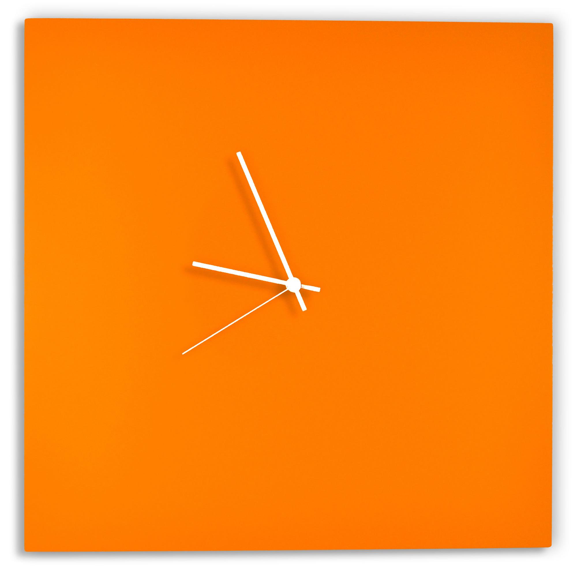 Orangeout Square Clock by Adam Schwoeppe - Minimalist Orange Metal Wall Clock