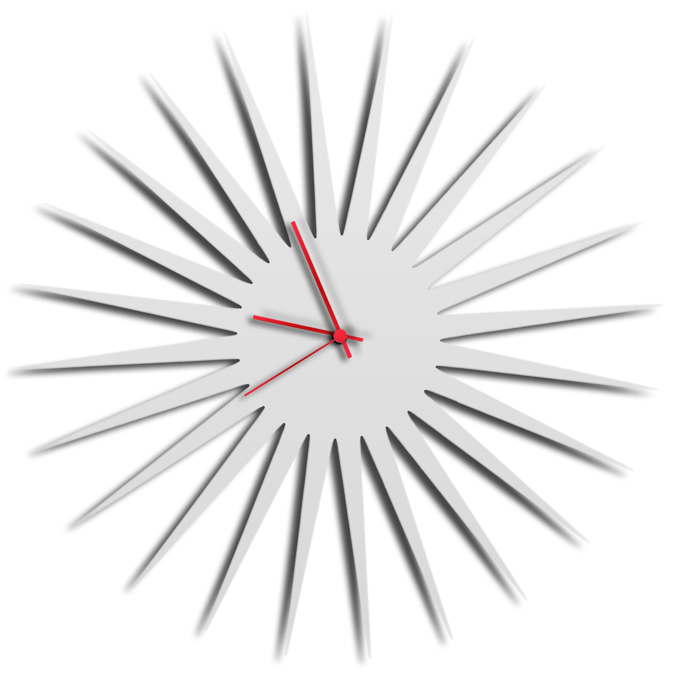MCM Starburst Clock   White By Adam Schwoeppe   Midcentury Modern Wall Clock