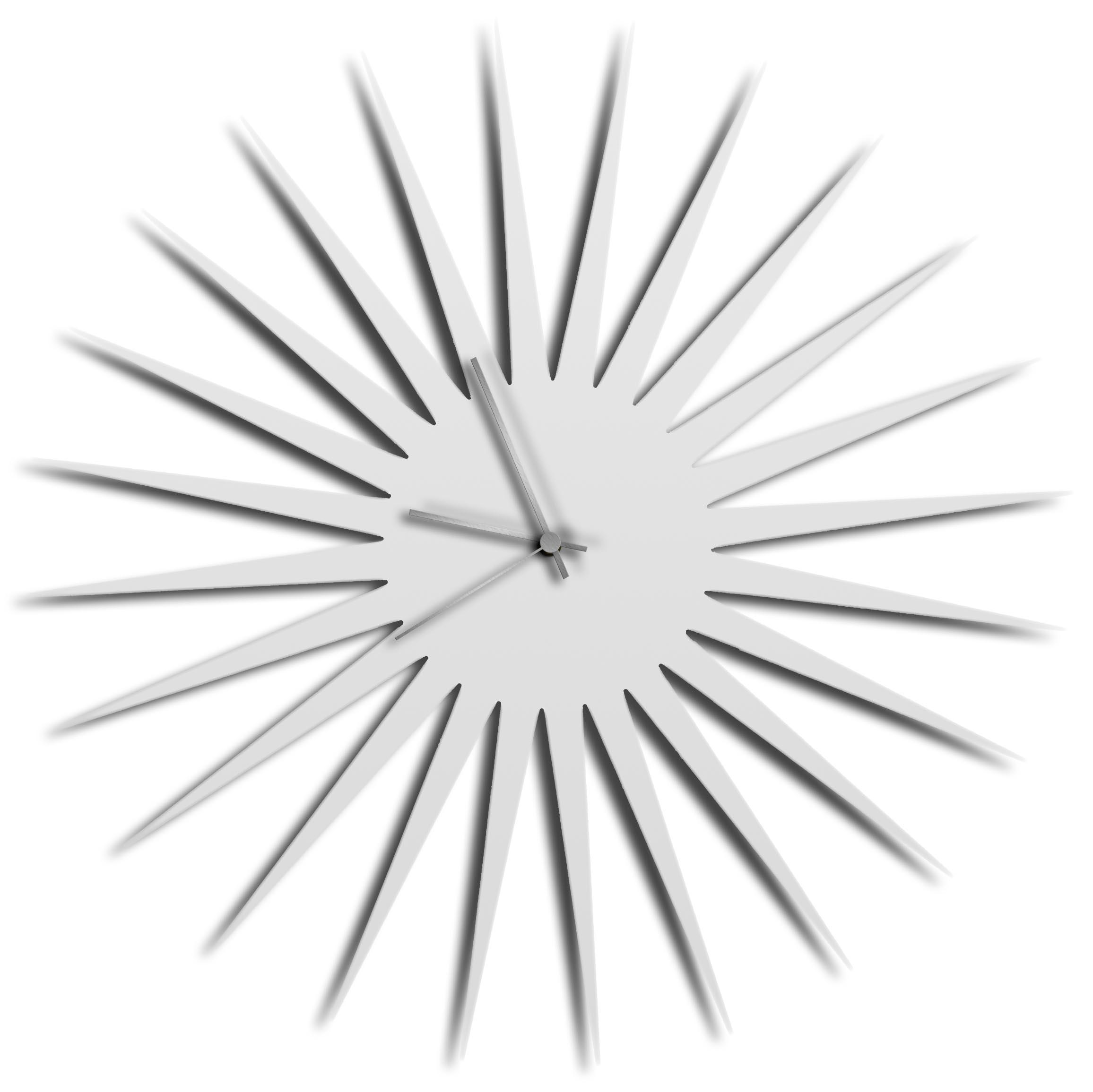 Adam Schwoeppe 'MCM Starburst Clock White Silver' Midcentury Modern Style Wall Clock