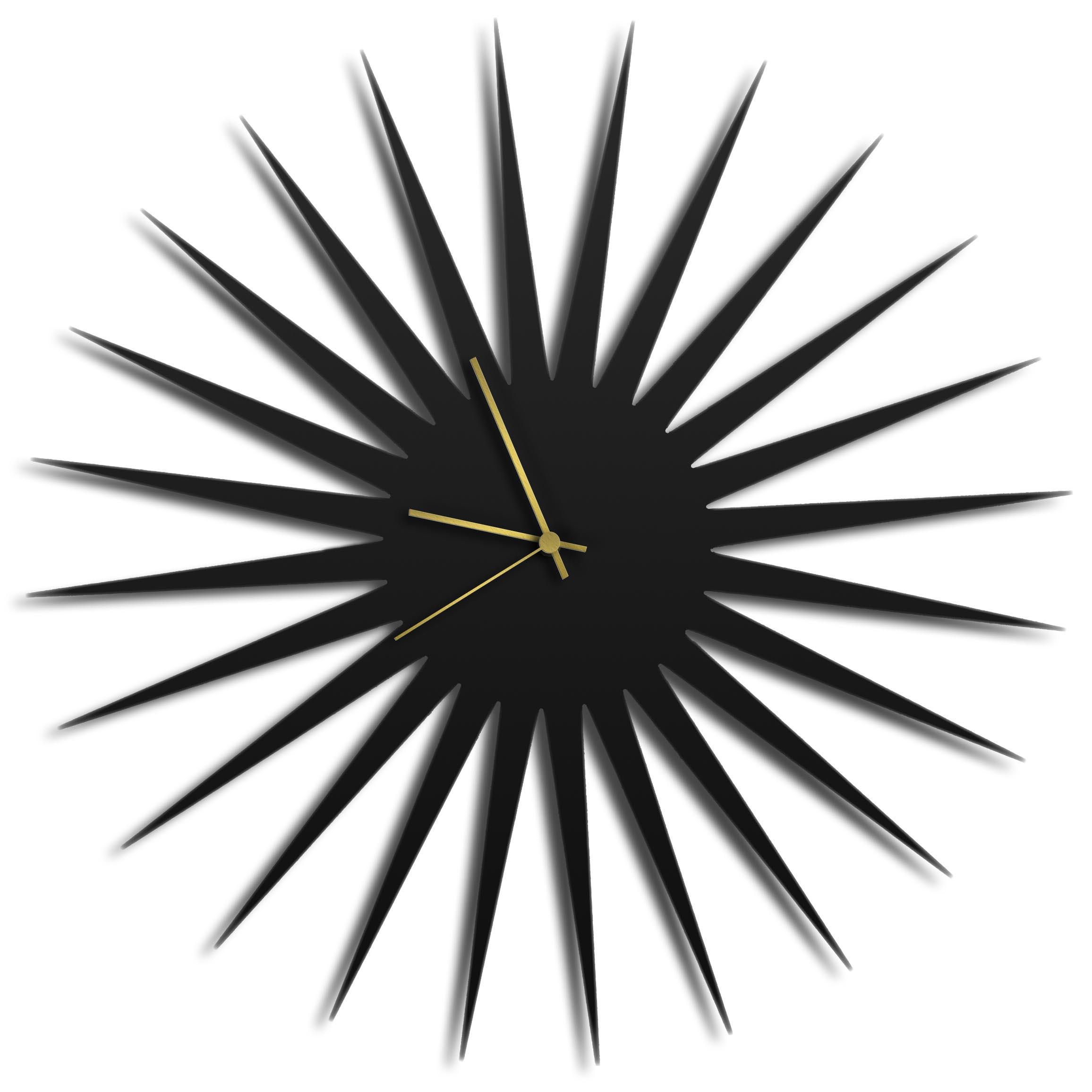 Adam Schwoeppe 'MCM Starburst Clock Black Gold' Midcentury Modern Style Wall Clock