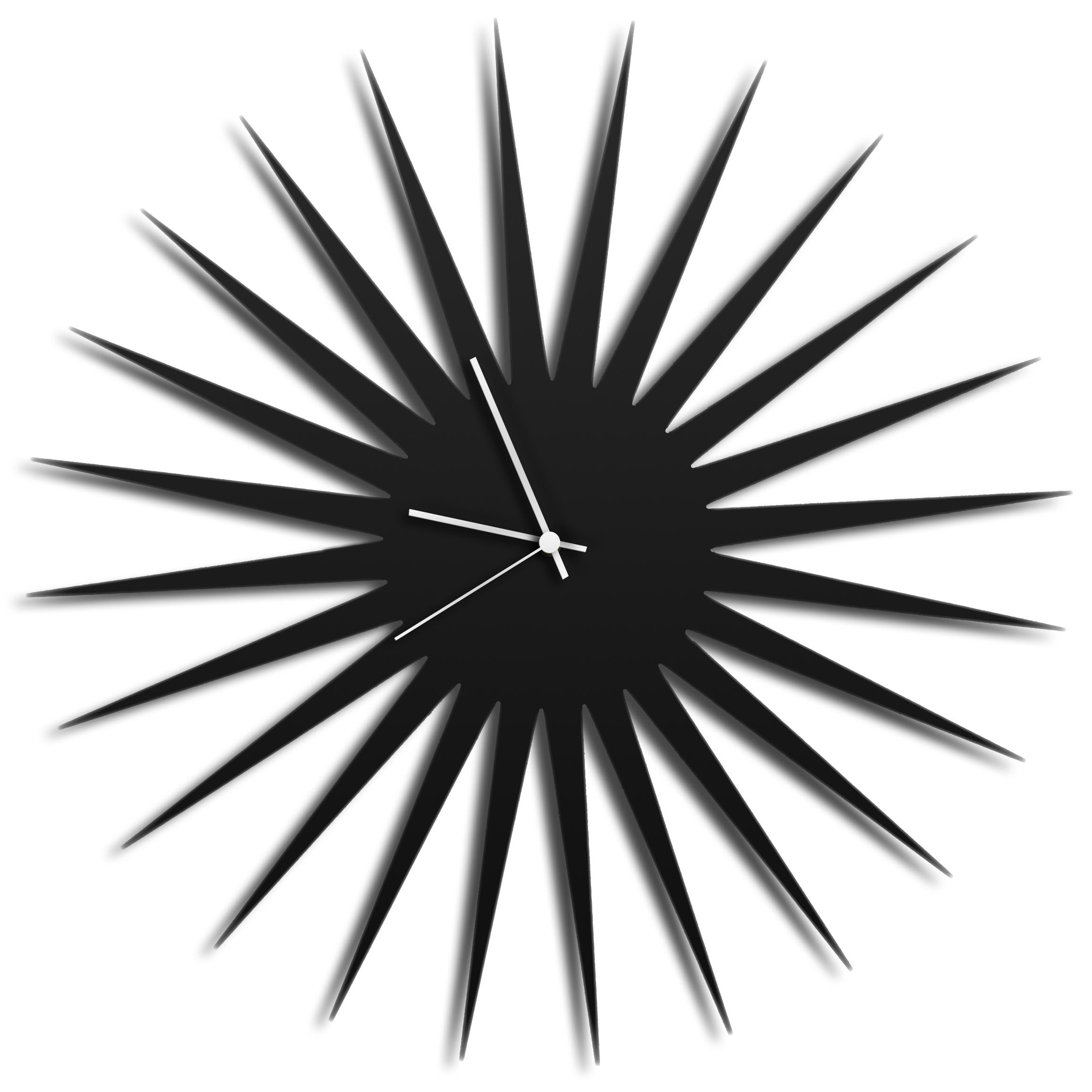 MCM Starburst Clock   Black By Adam Schwoeppe   Midcentury Modern Wall Clock