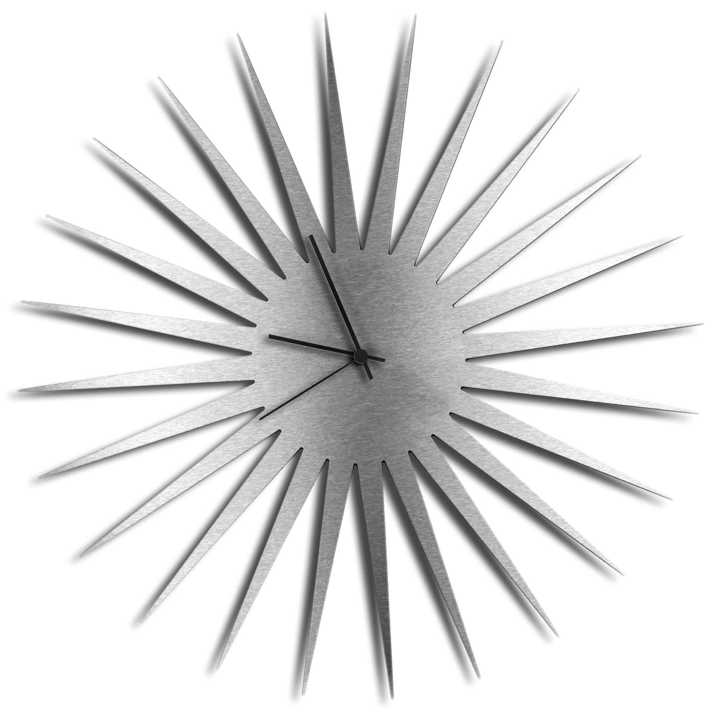 Adam Schwoeppe 'MCM Starburst Clock Silver Black' Midcentury Modern Style Wall Clock