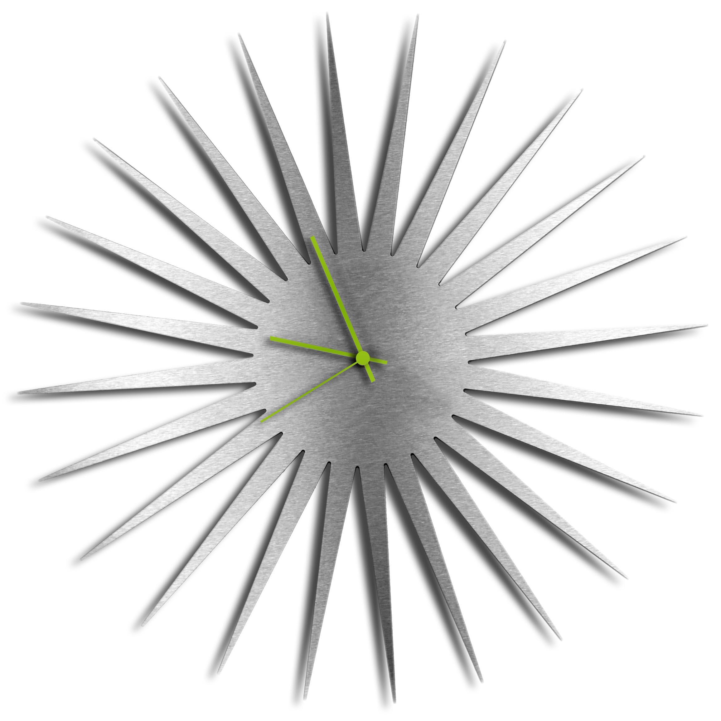 Adam Schwoeppe 'MCM Starburst Clock Silver Green' Midcentury Modern Style Wall Clock