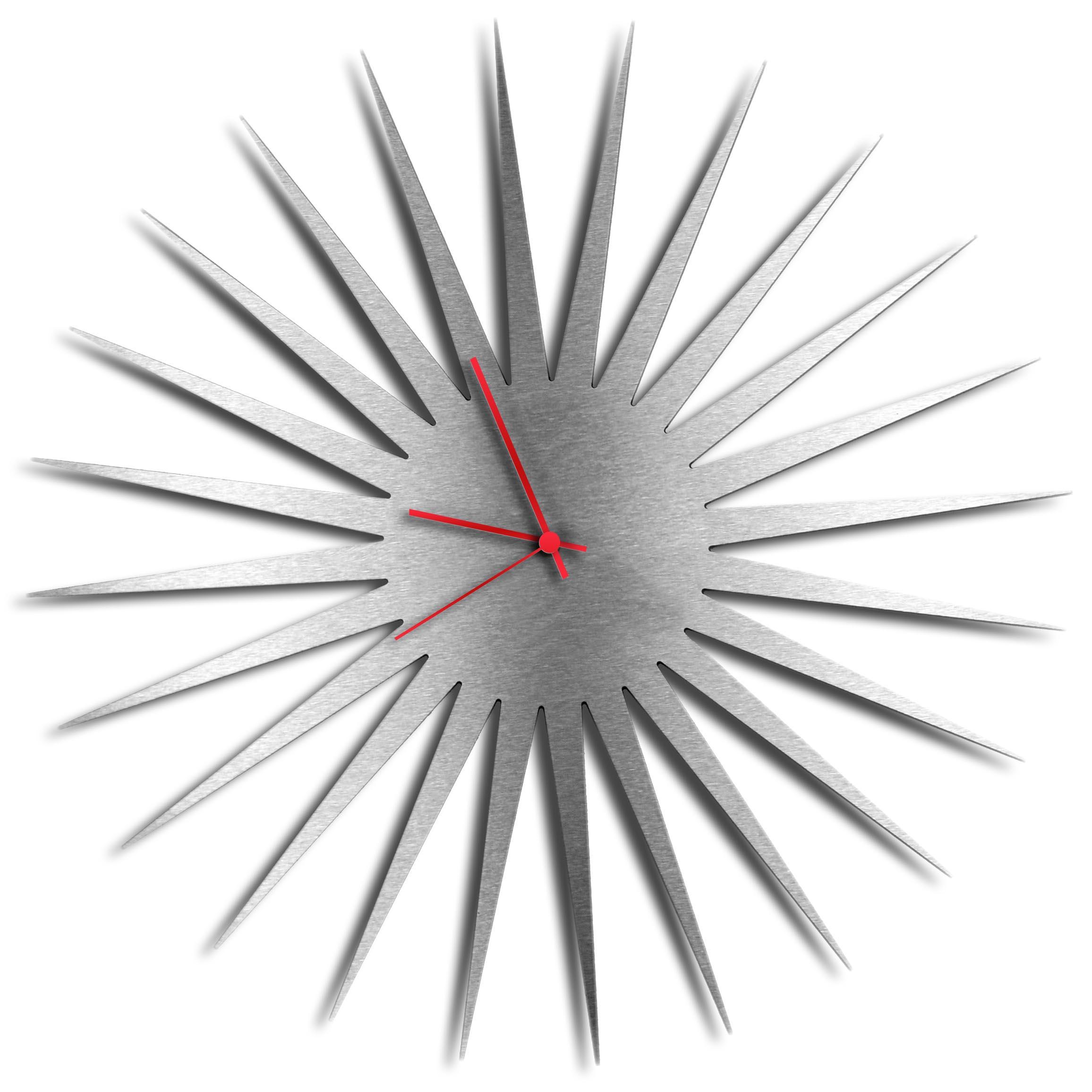 Adam Schwoeppe 'MCM Starburst Clock Silver Red' Midcentury Modern Style Wall Clock
