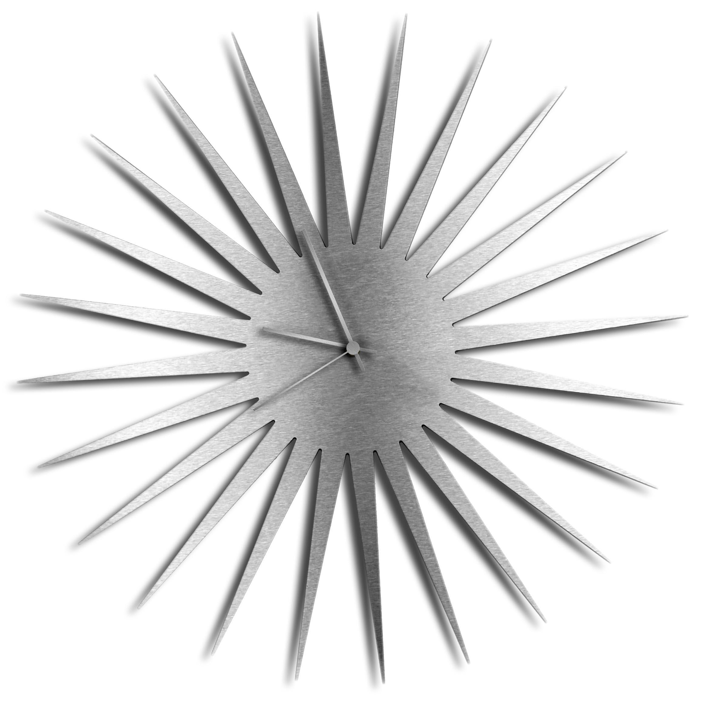 Adam Schwoeppe 'MCM Starburst Clock Silver Silver' Midcentury Modern Style Wall Clock