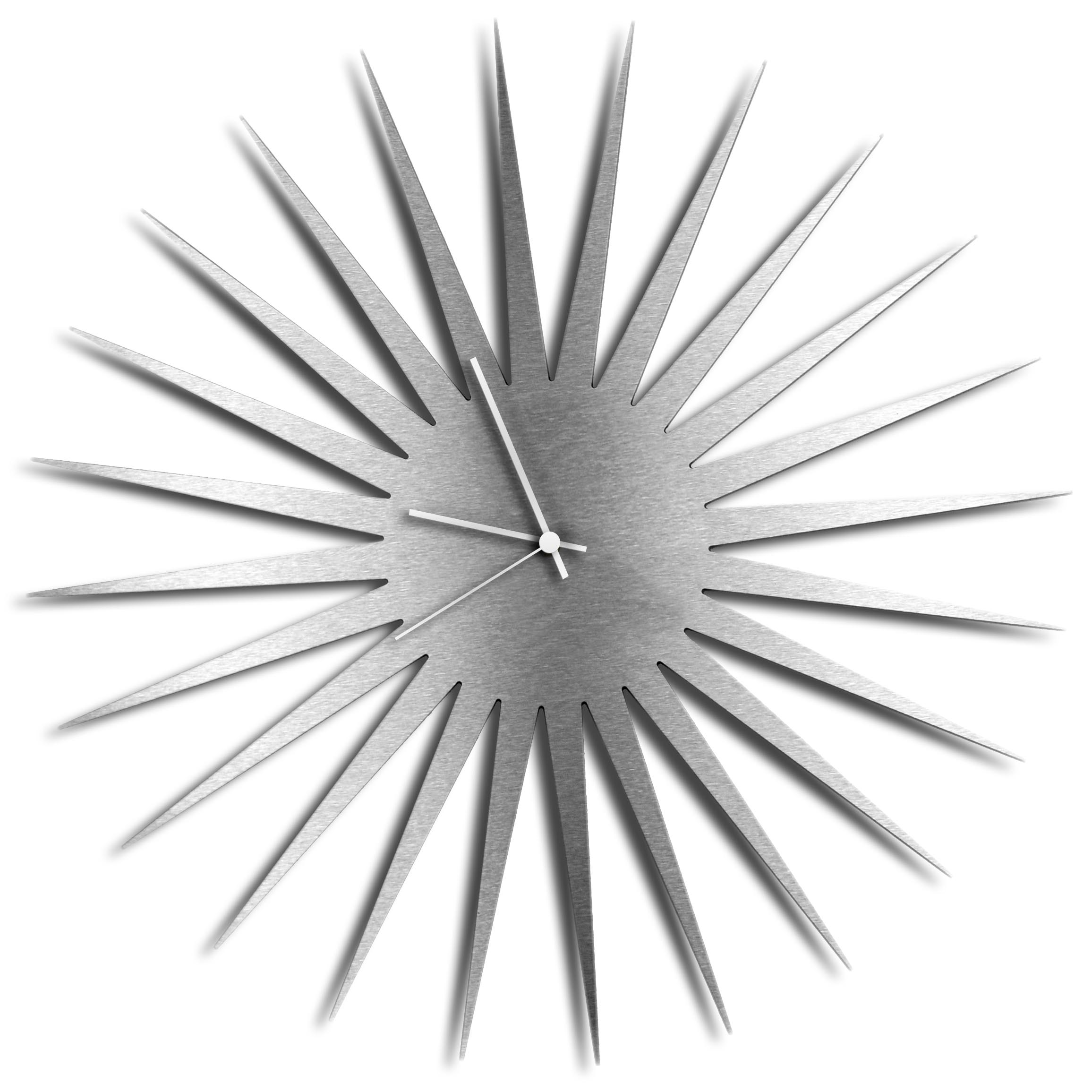 MCM Starburst Clock - Silver by Adam Schwoeppe - Midcentury Modern Wall Clock - Alternate View 1
