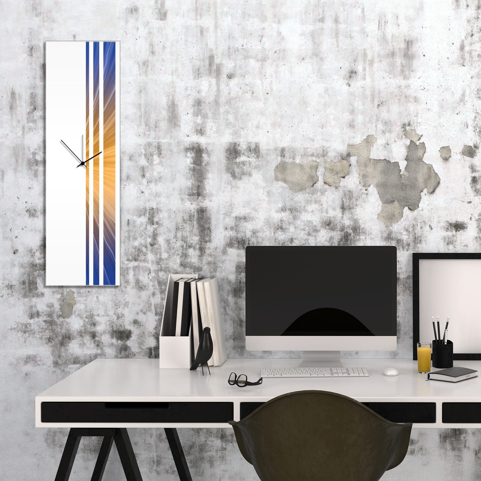 Candlelight Triple Stripe Clock by Adam Schwoeppe Large Modern Clock on Acrylic - Alternate View 1