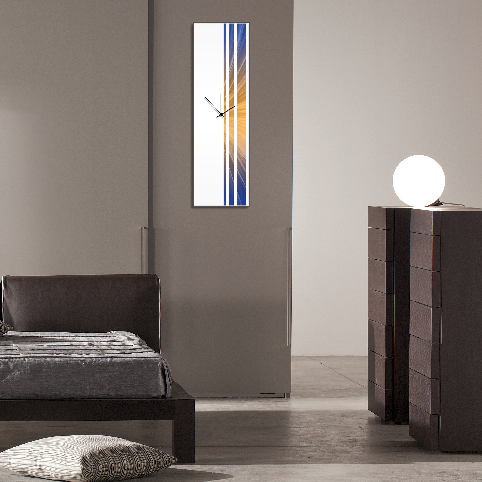 Candlelight Triple Stripe Clock by Adam Schwoeppe Large Modern Clock on Acrylic - Alternate View 3
