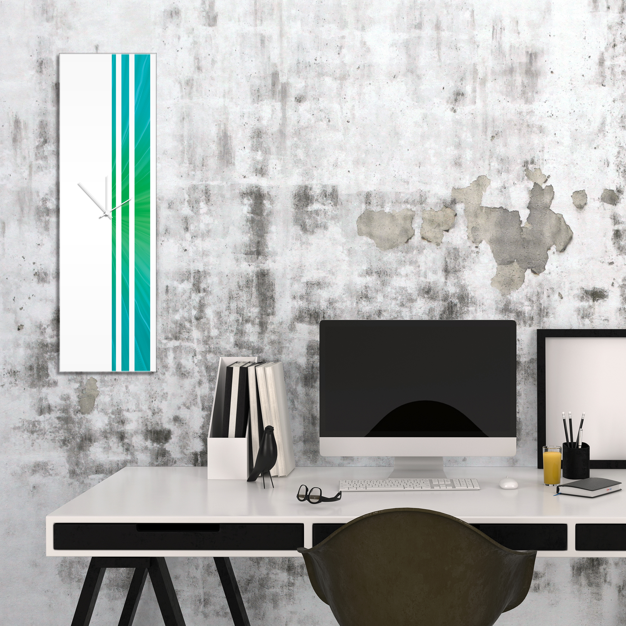 Caribbean Triple Stripe Clock by Adam Schwoeppe Large Modern Clock on Acrylic - Alternate View 1