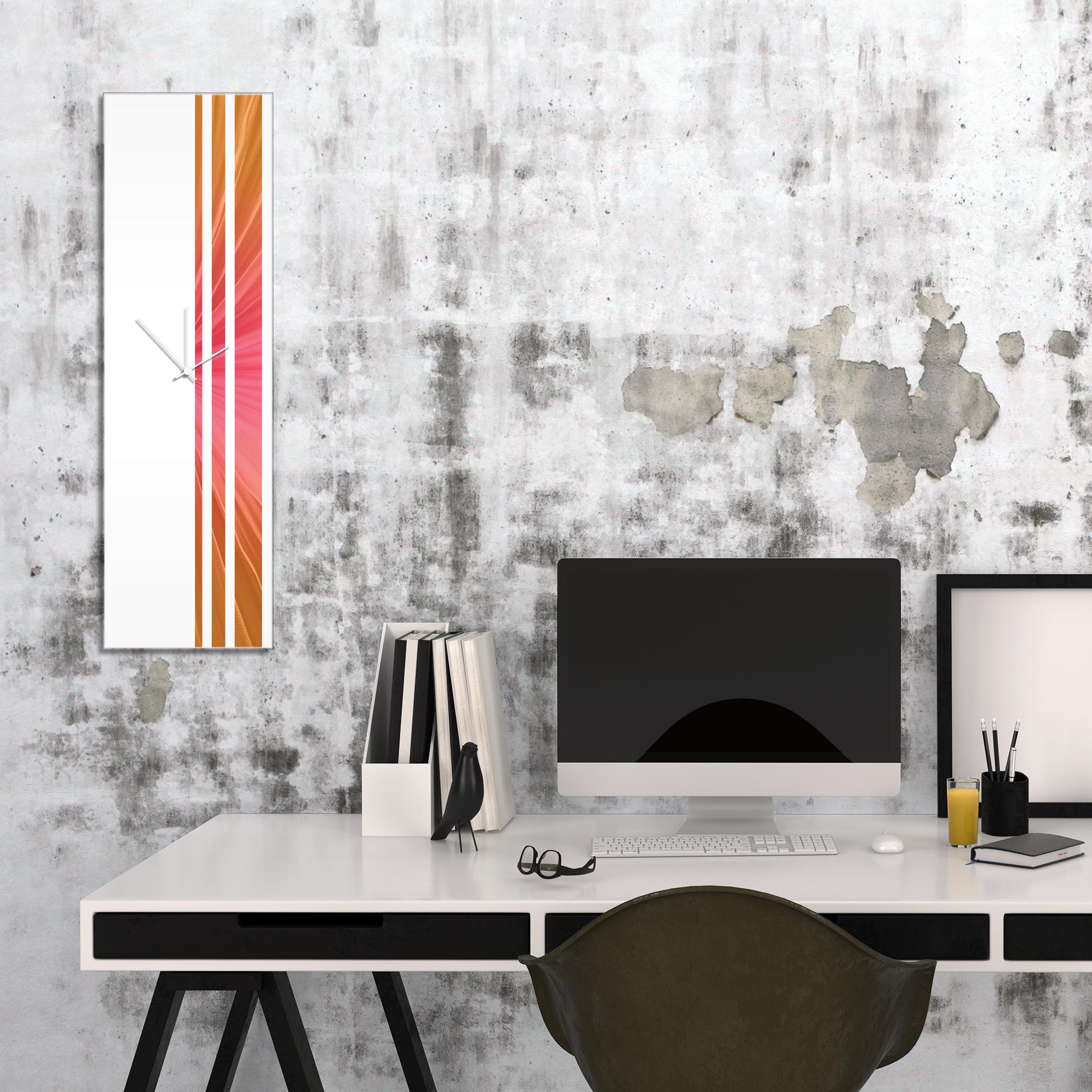 Autumn Triple Stripe Clock by Adam Schwoeppe Large Modern Clock on Acrylic - Alternate View 1