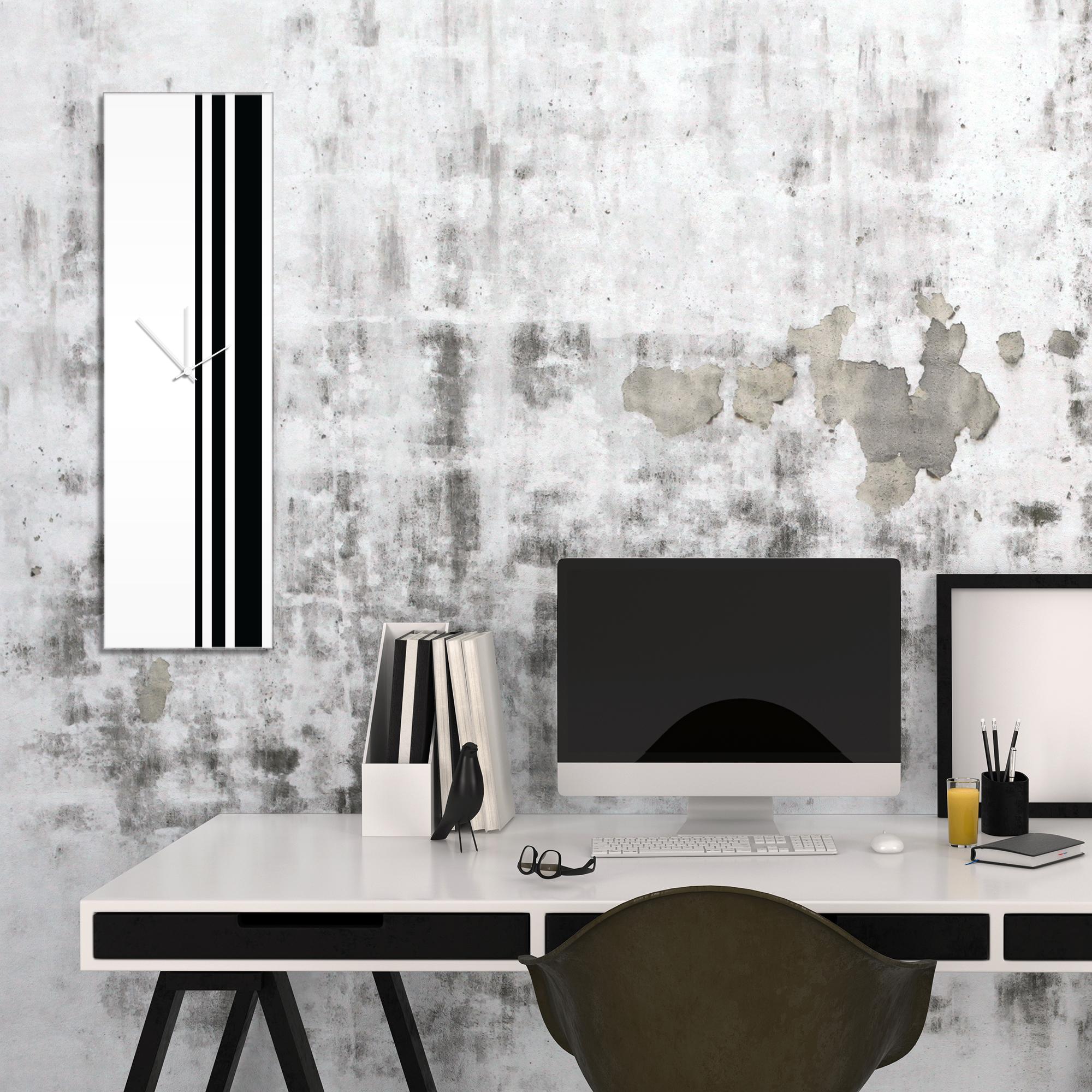 Black Triple Stripe Clock by Adam Schwoeppe Large Modern Clock on Acrylic - Alternate View 1
